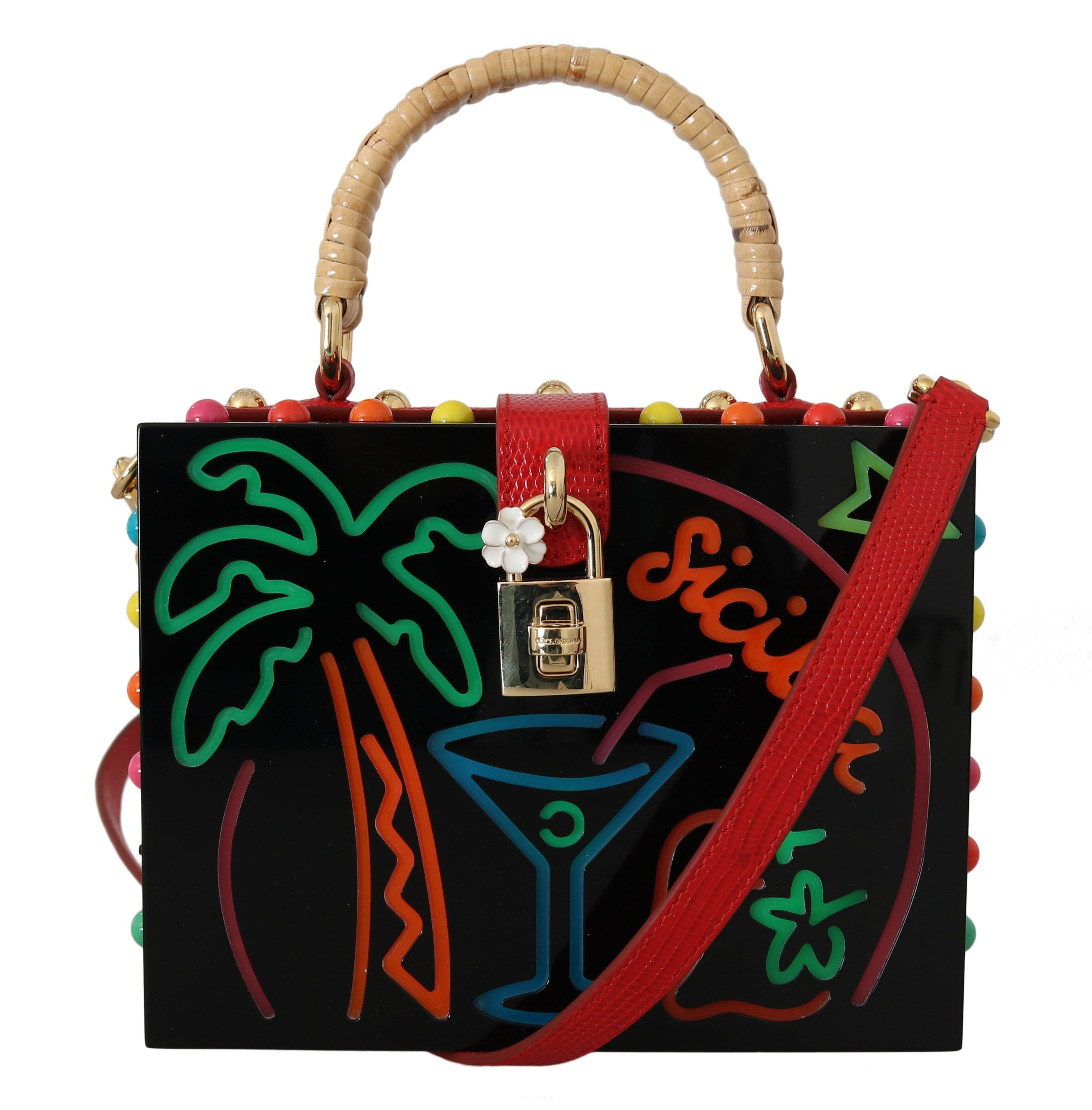 Dolce & Gabbana Black Plexi LED Light Leather SICILY BARP BOX Purse