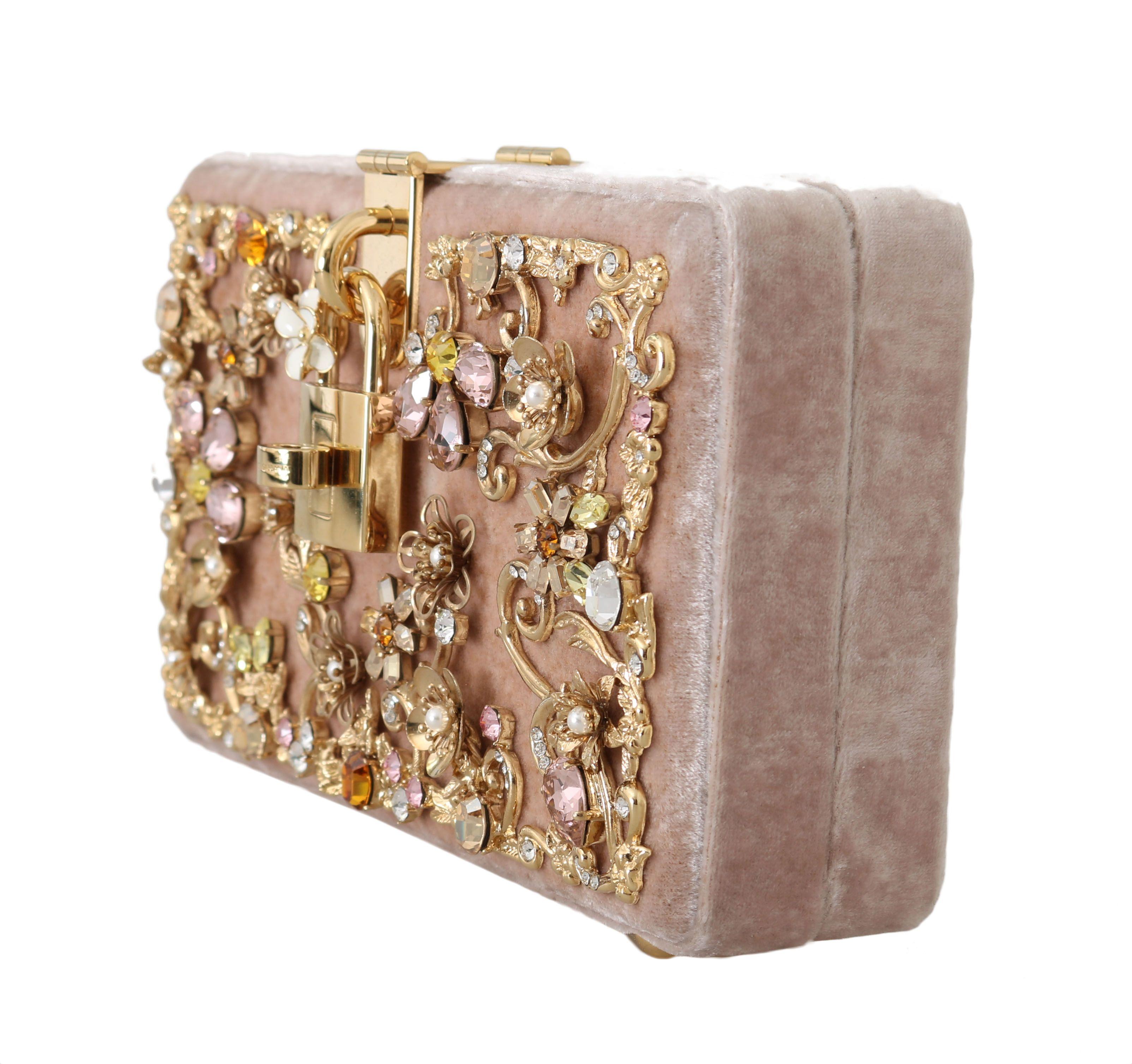 Dolce & Gabbana Pink Velvet Gold Baroque Crystal Clutch Purse