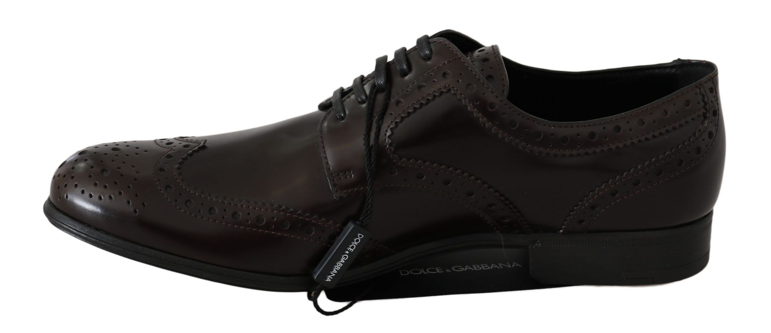 Dolce & Gabbana Brown Leather Broques Oxford Wingtip Shoes