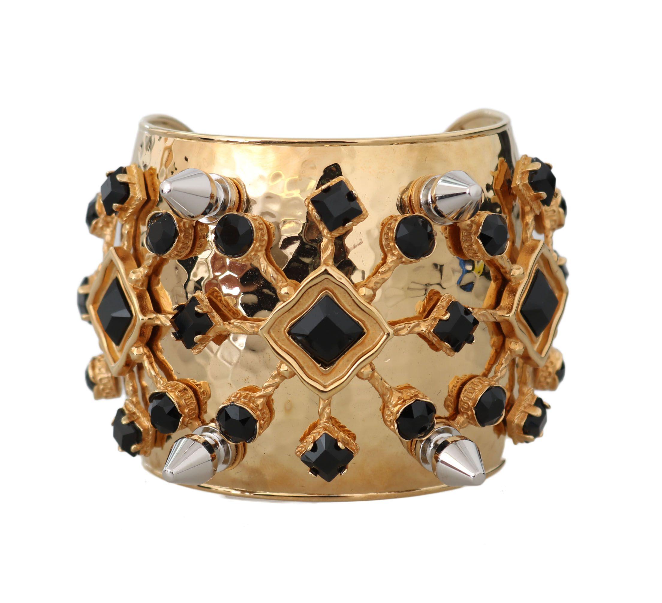 Dolce & Gabbana Gold Bronze Black Crystal Bangle Cuff Sicily