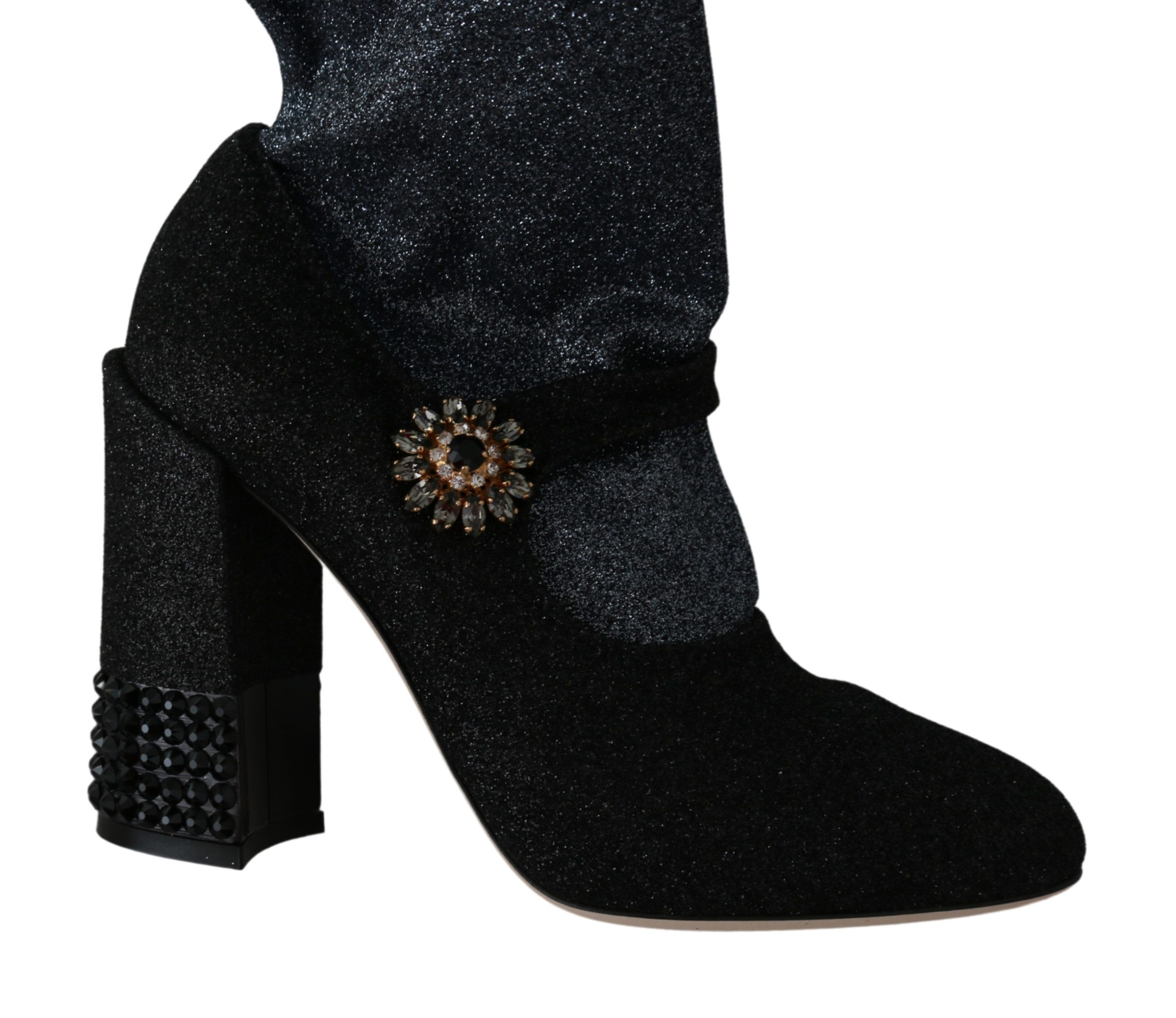 Dolce & Gabbana Black Crystal Mary Janes Booties Shoes