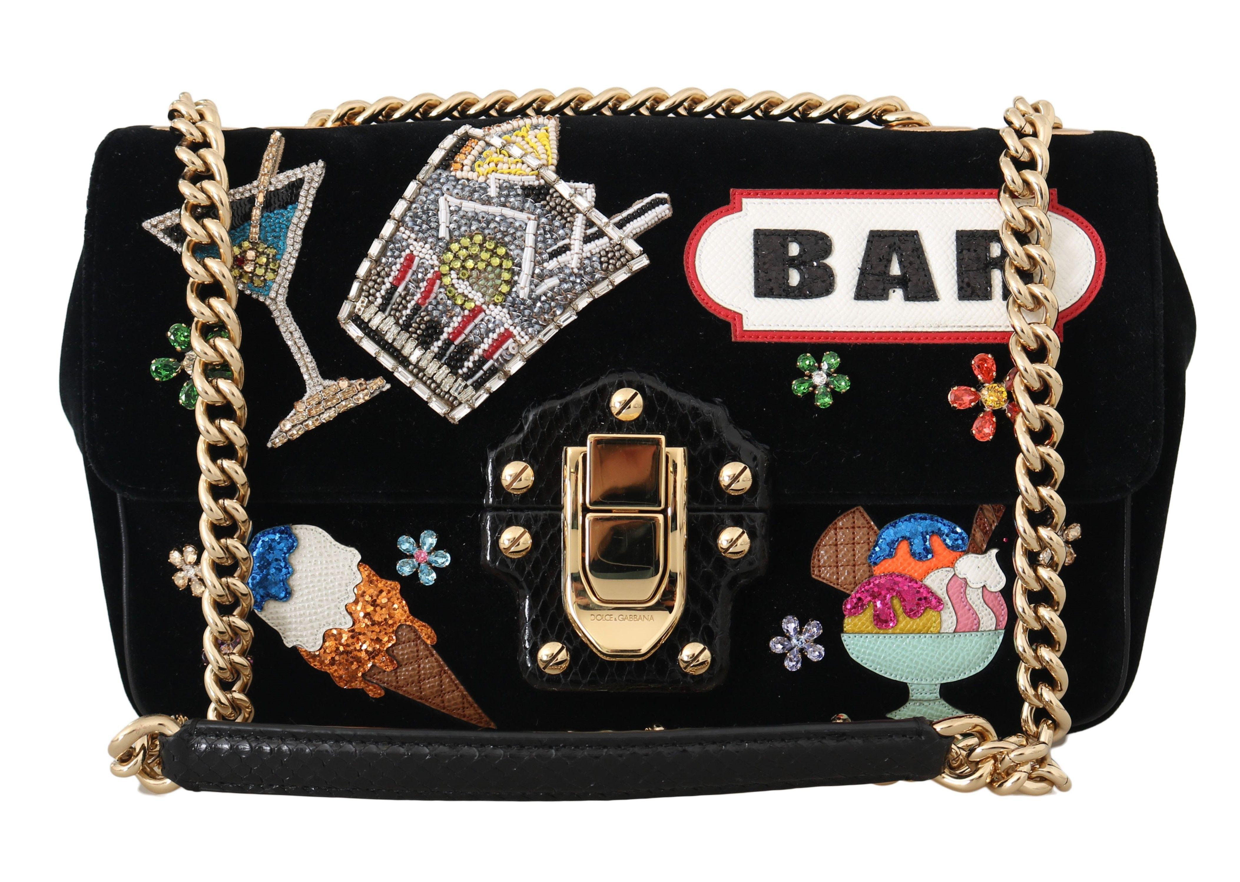 Dolce & Gabbana LUCIA Black Velvet Crystal BAR Shoulder Purse