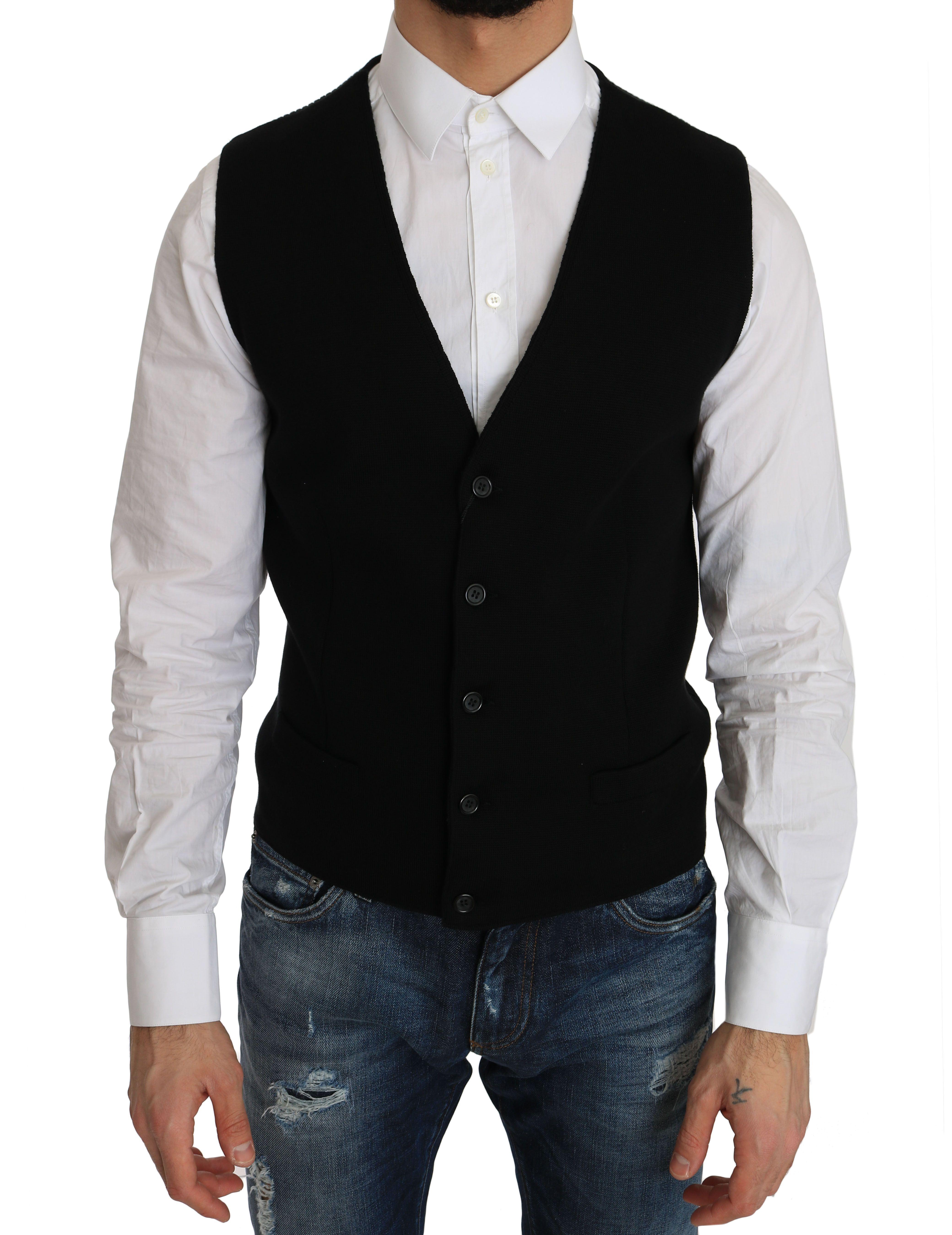 Dolce & Gabbana Black Cotton Dress Woven Waistcoat