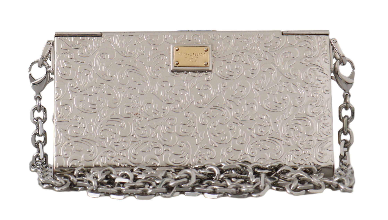 Dolce & Gabbana Silver Metal Crystal Clutch Micro Cross Body BOX Bag