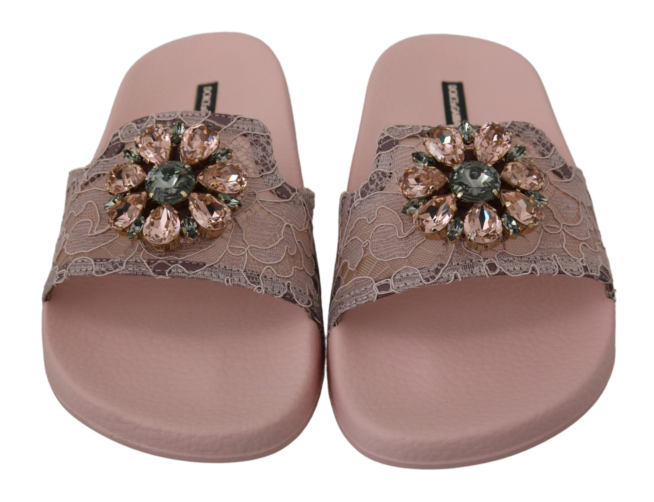 Dolce & Gabbana Pink Lace Crystal Sandals Slides Beach Shoes