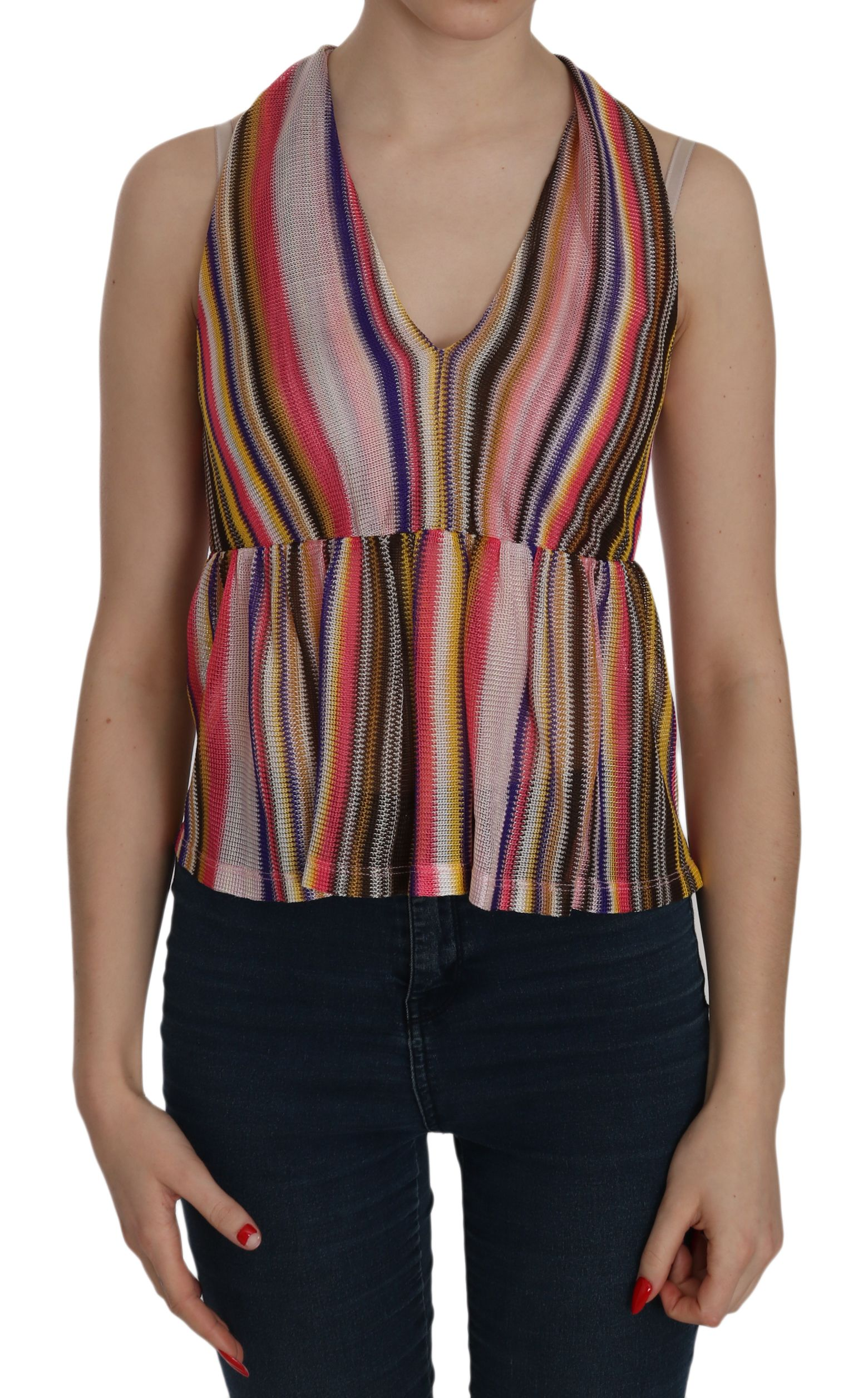 PINKO Multi Color Sleeveless Deep Neck Backless Top Blouse