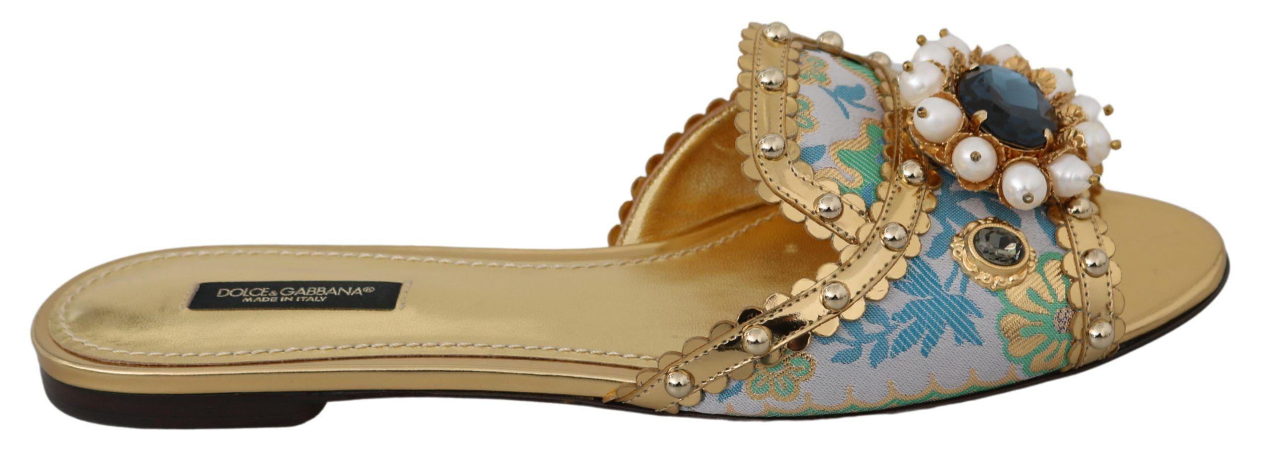 Dolce & Gabbana Gold Crystal Sandals Slides Flats Shoes
