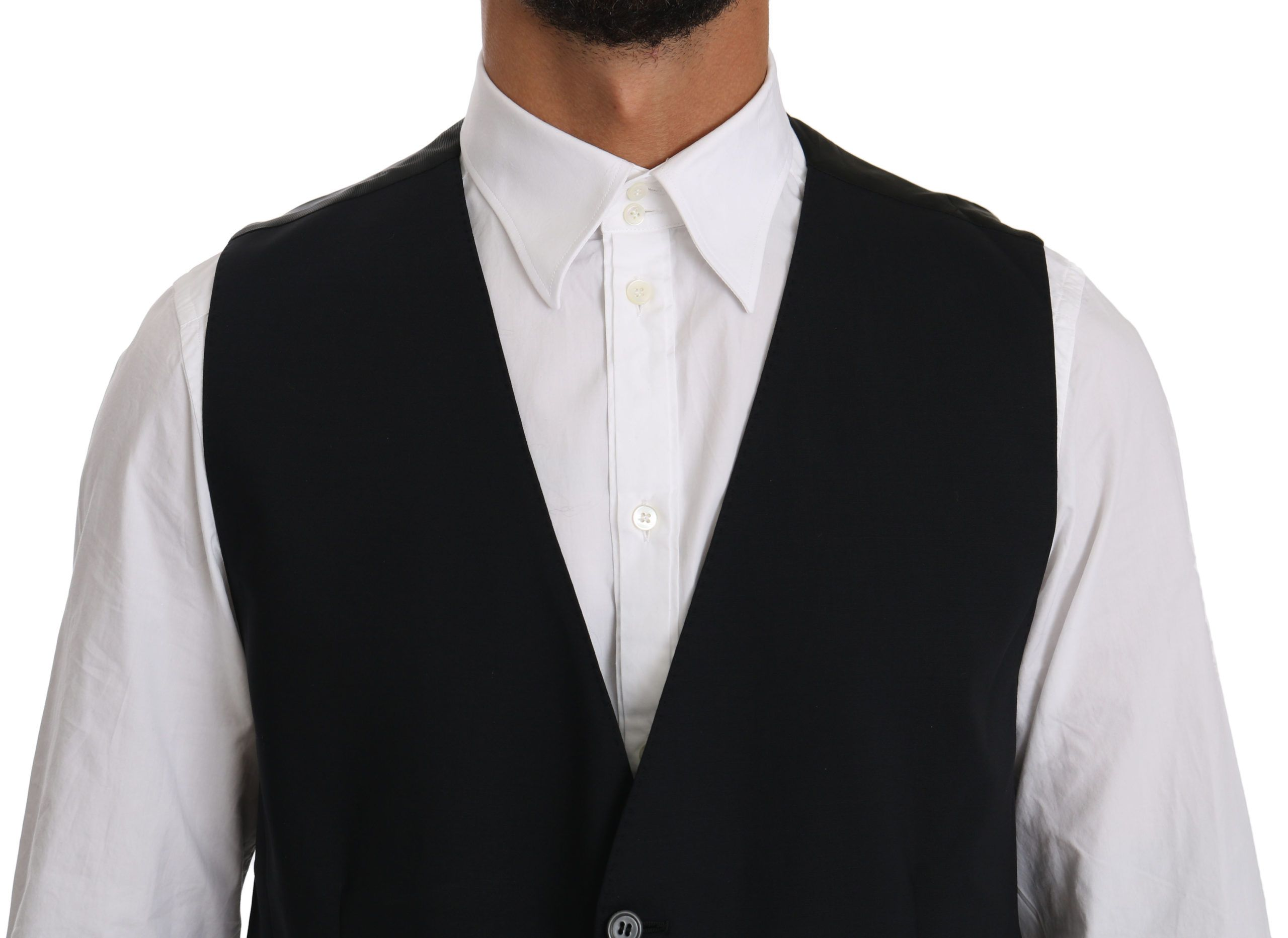Dolce & Gabbana Black Waistcoat Formal Gilet Cotton Vest