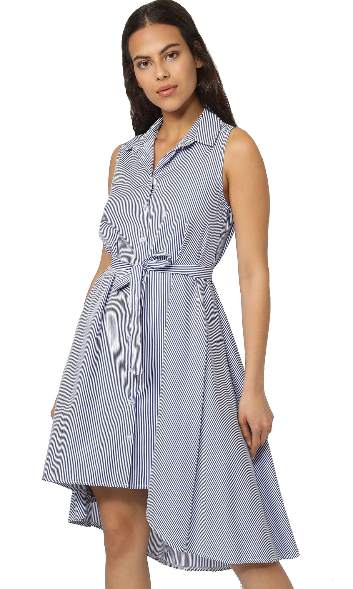 Long striped Dress with shirt collar and belt