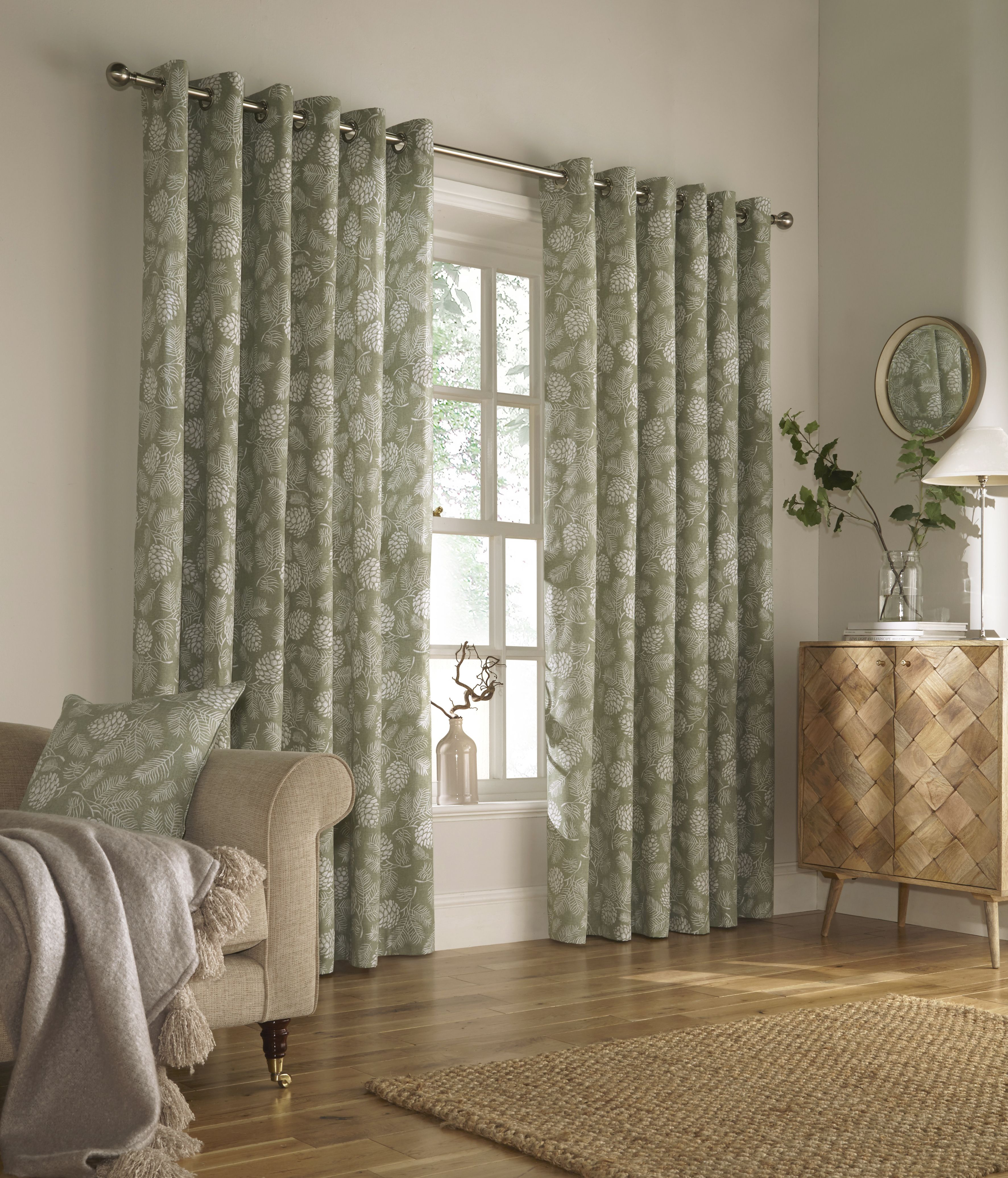 Irwin Printed Woodland Eyelet Curtains in Sage