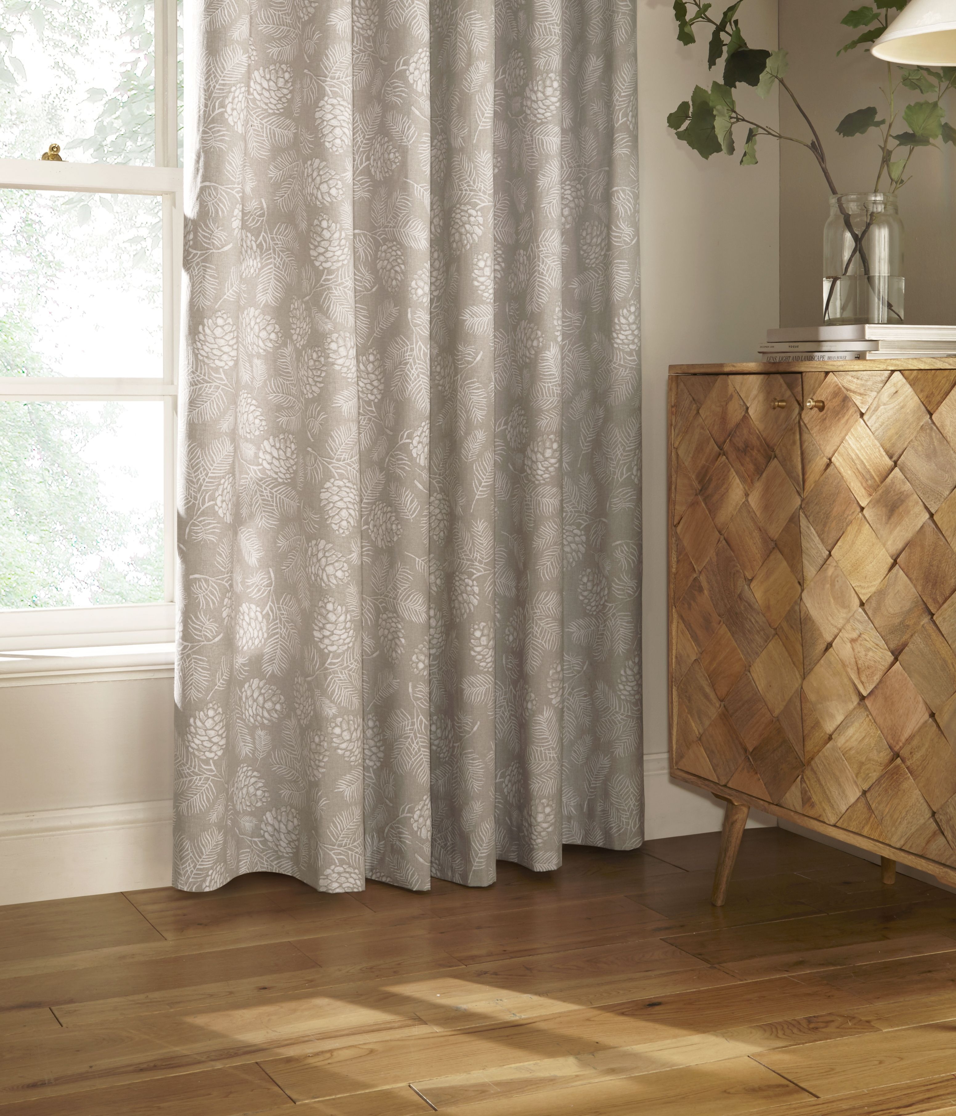 Irwin Printed Woodland Eyelet Curtains in Stone