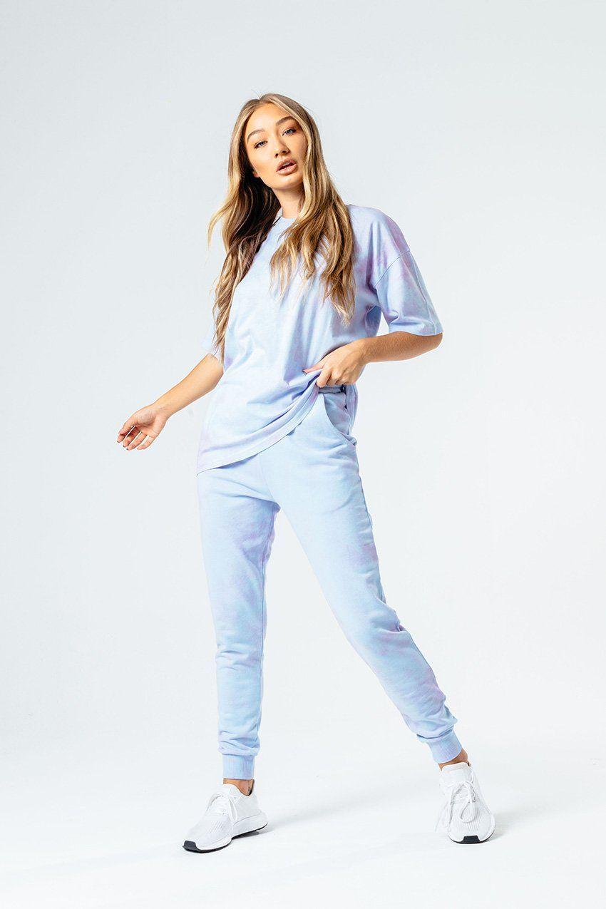 HYPE BLUE & PINK TIE DYE WOMEN'S OVERSIZED T-SHIRT