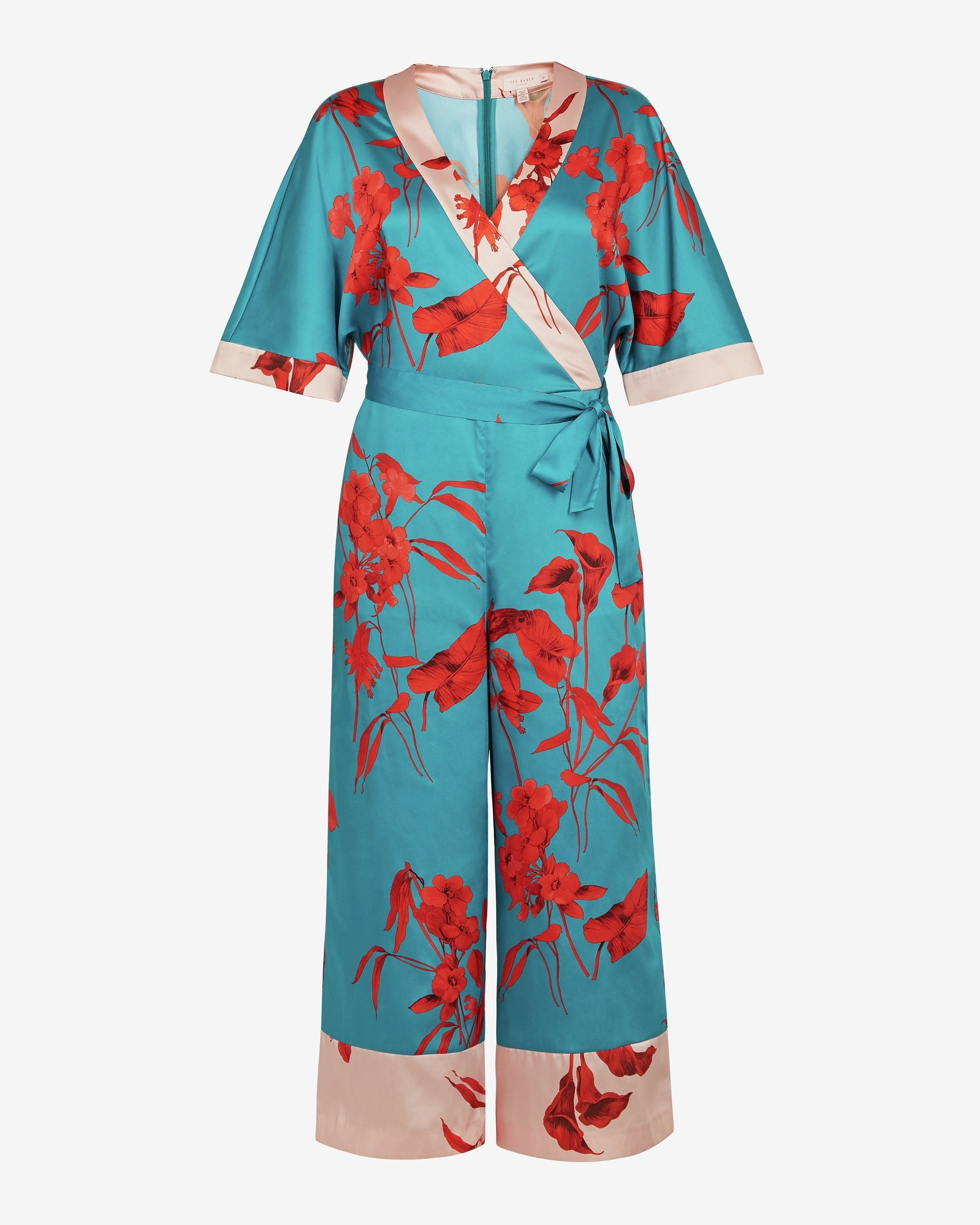Ted Baker Jowsey Fantasia Wrap Jumpsuit, Turquoise