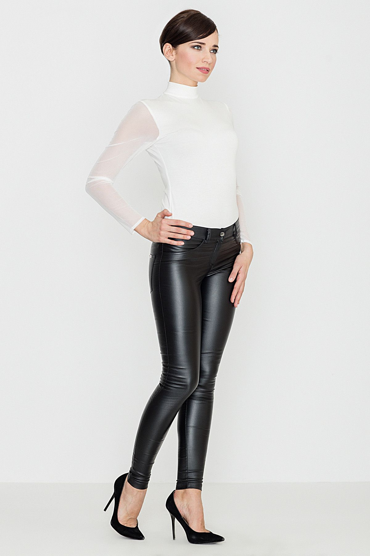 Eco-Leather Trousers with Straight Fit Legs
