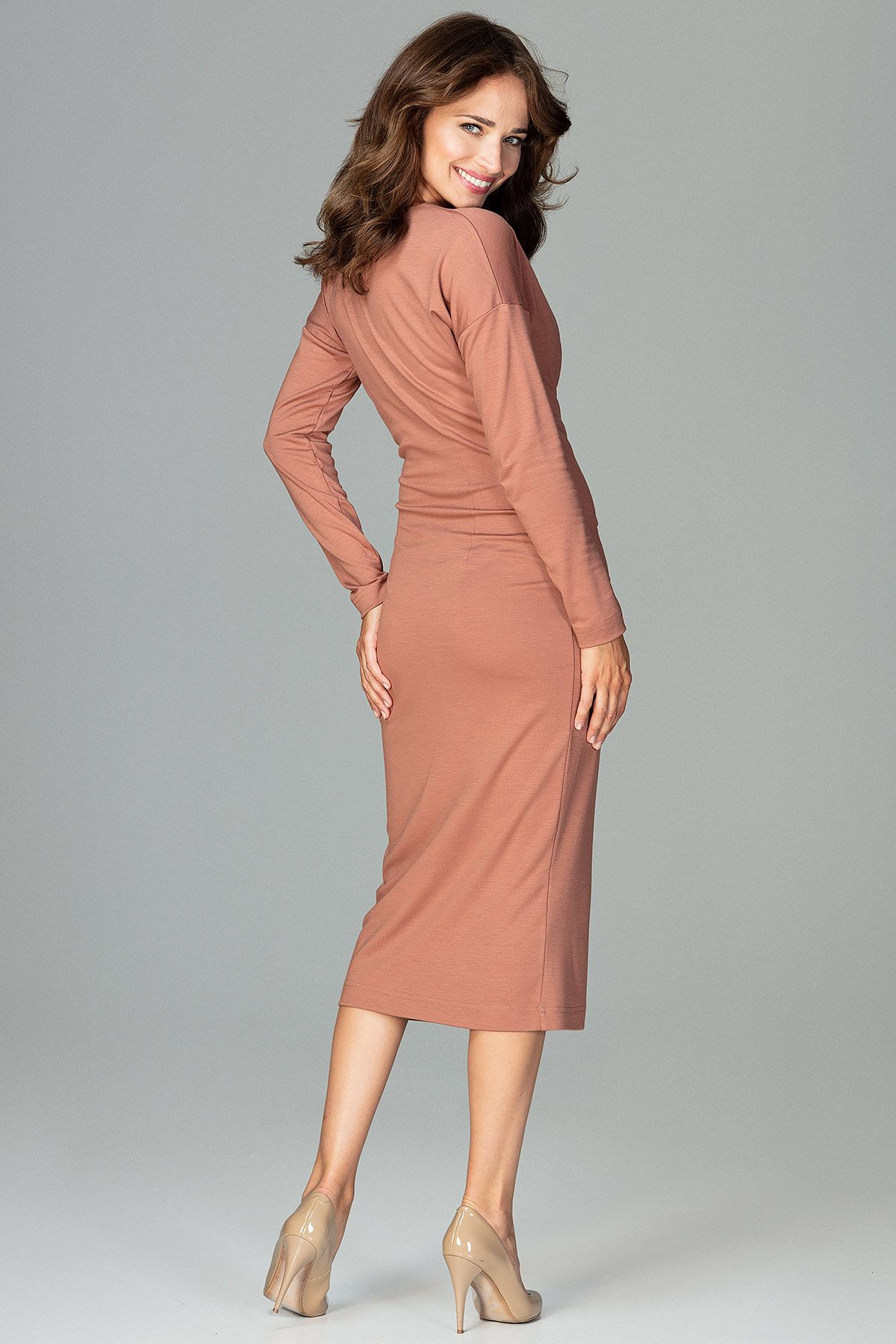 Brown Wrap Dress With Long Sleeves