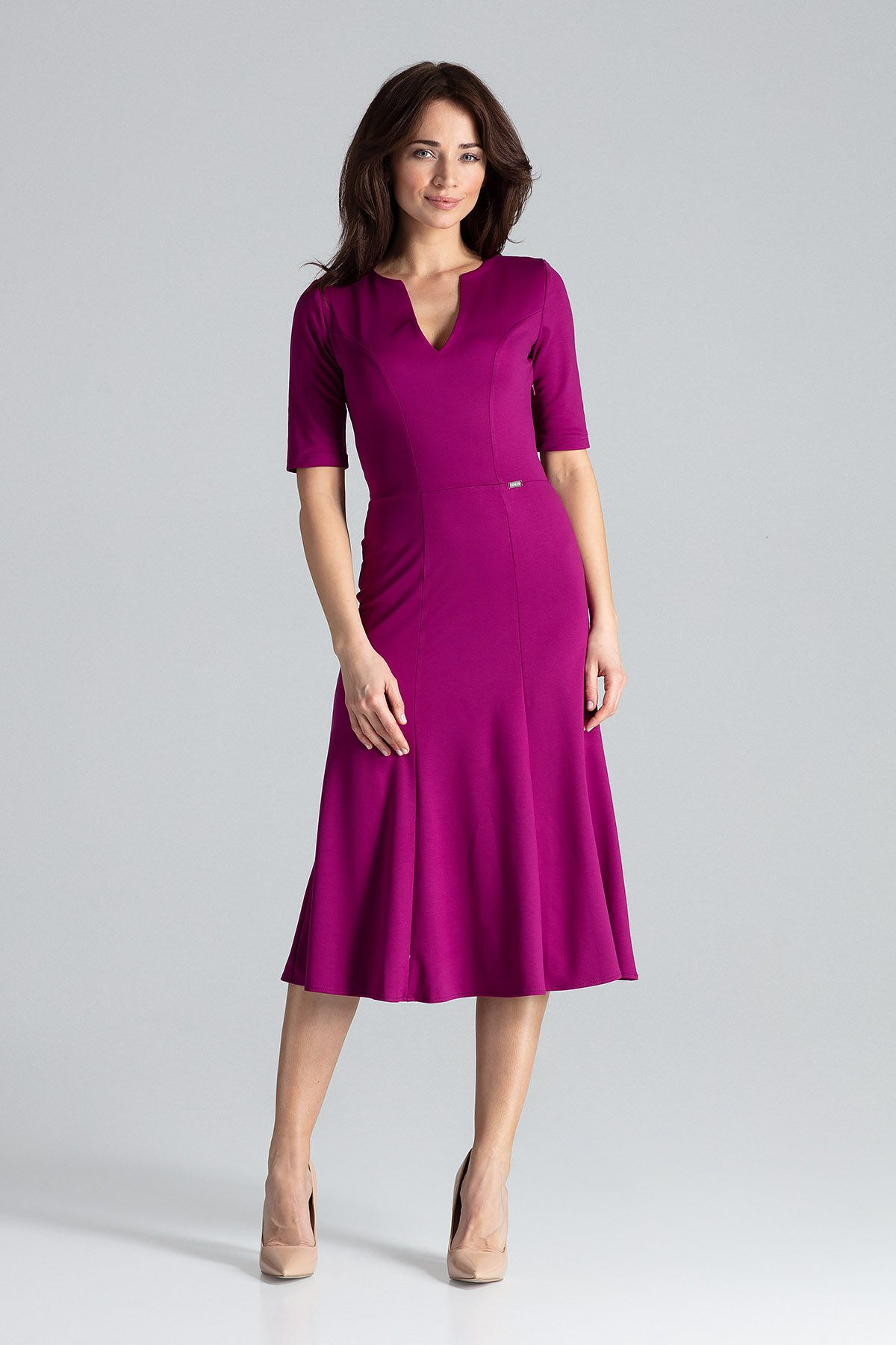 Midi Dress With Gussets With 3/4 Sleeves