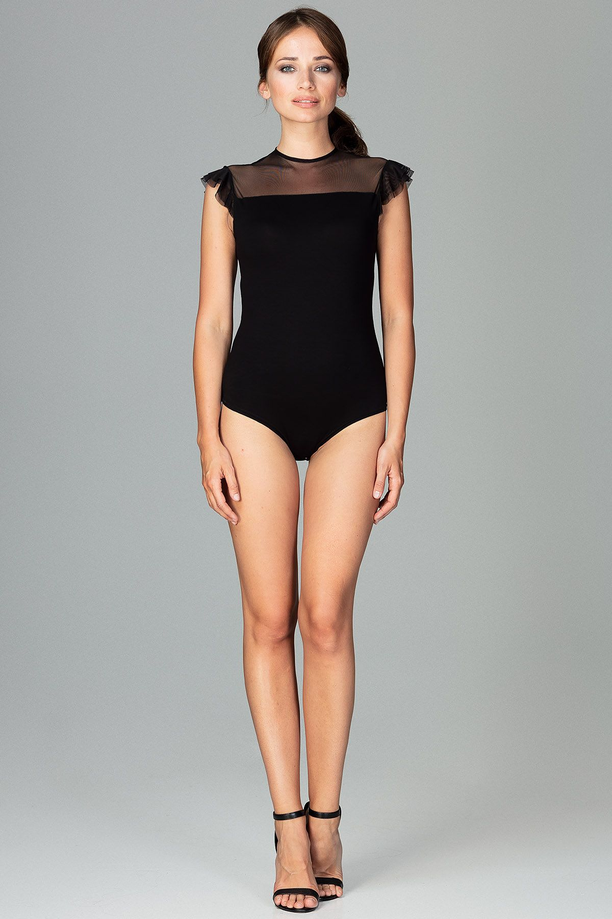 Black Bodysuit With Short Sleeves