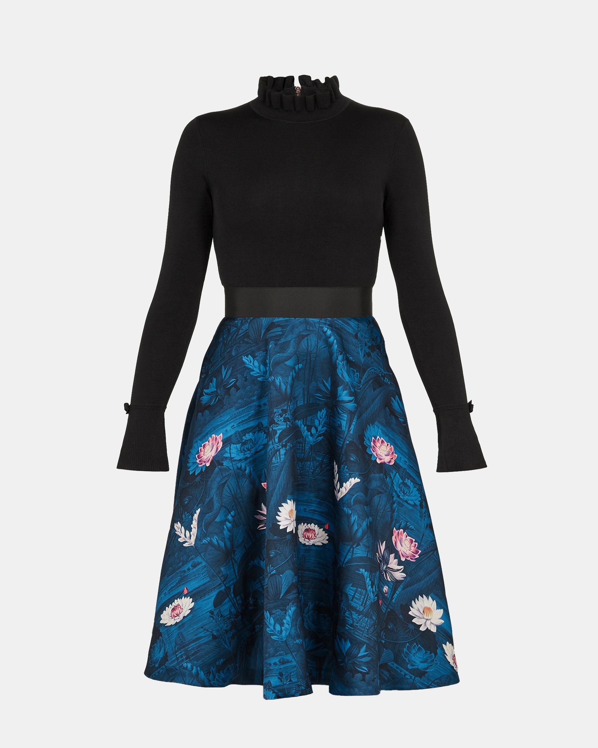 Ted Baker Kalinaa Wonderland Knit Bodice Dress in Black