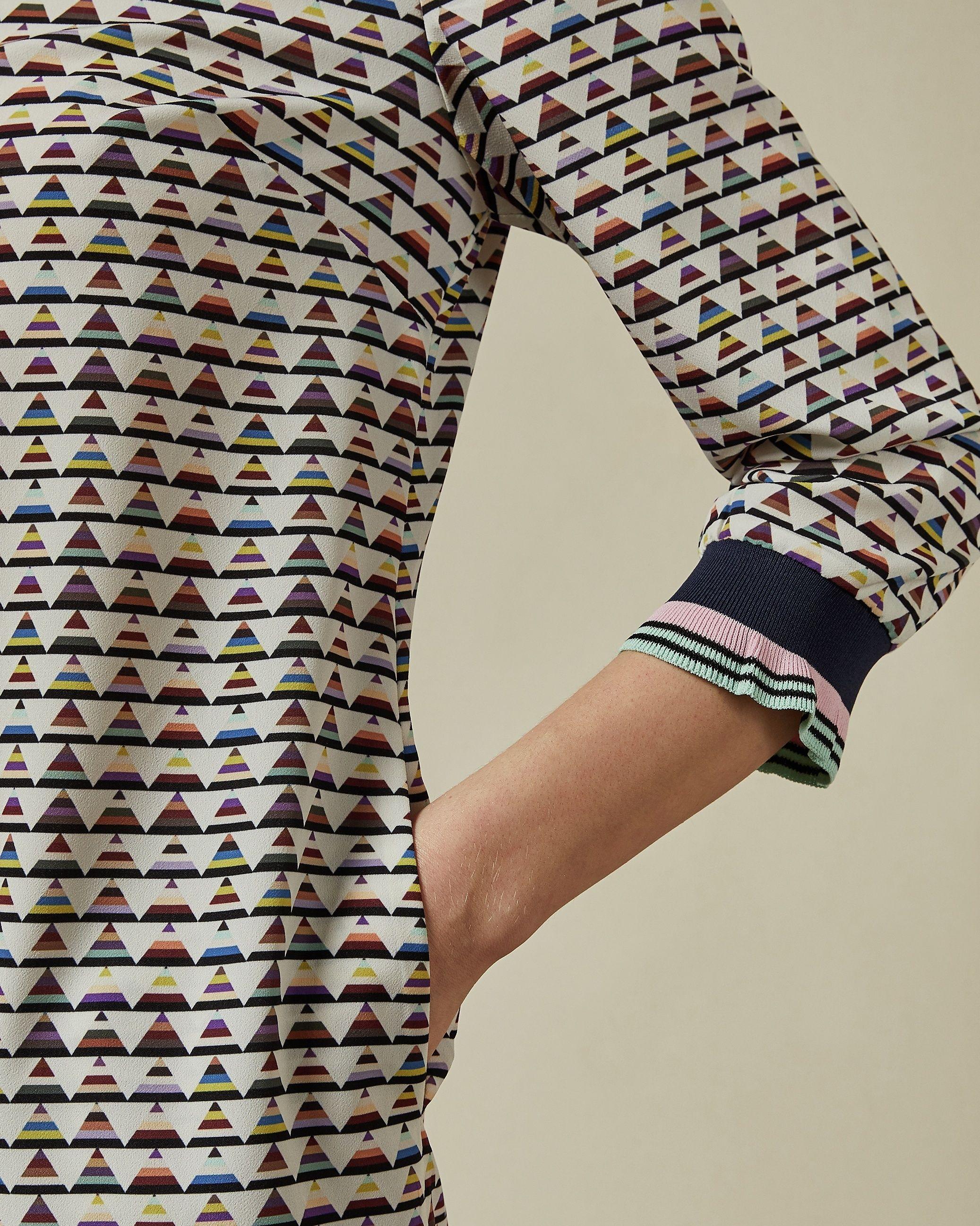 Ted Baker Karleen Cabin Triangle Print Shift Dress in Ivory