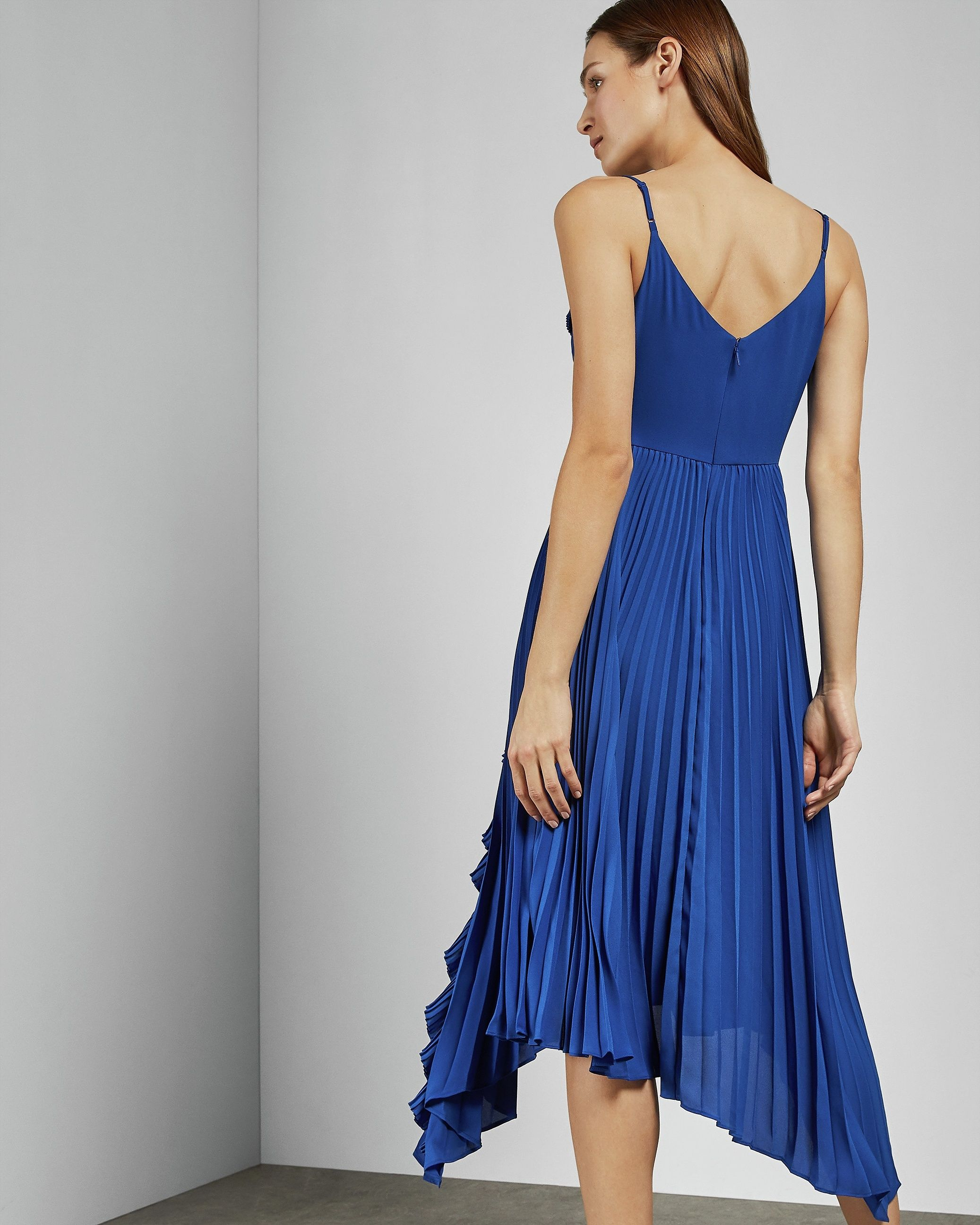 Ted Baker Kattyy Strappy Pleated V Neck Dress, Bright Blue