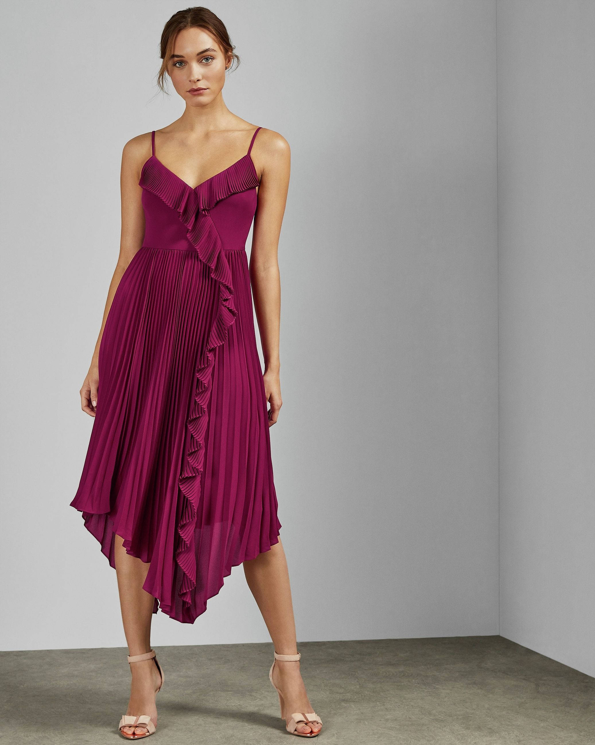 Ted Baker Kattyy Strappy Pleated V Neck Dress in Deep Pink