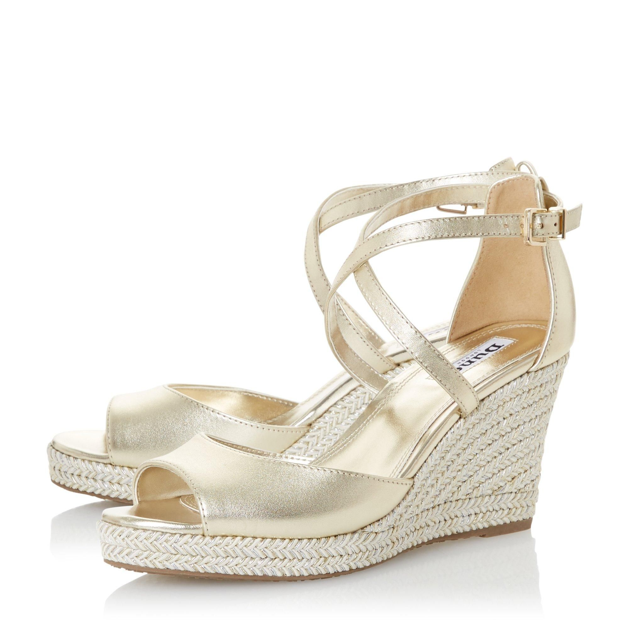 Dune Ladies KIMCHI Cross Strap Espadrille Wedge Sandals