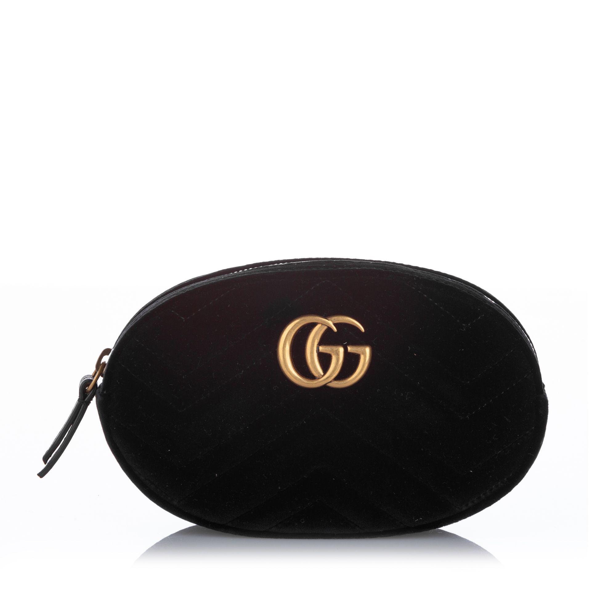 Gucci GG Marmont Velvet Belt Bag Black