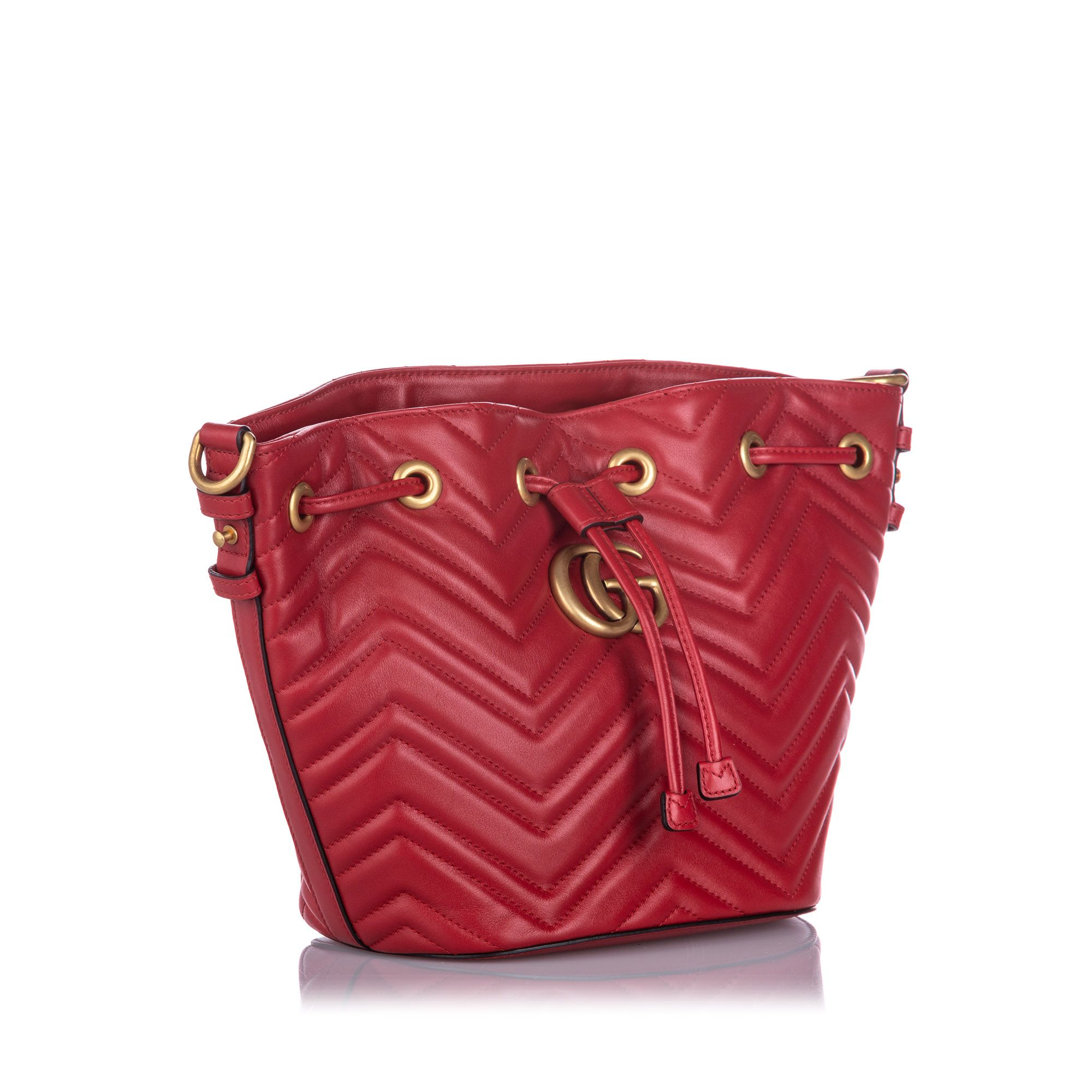 Vintage Gucci GG Marmont Bucket Bag Red