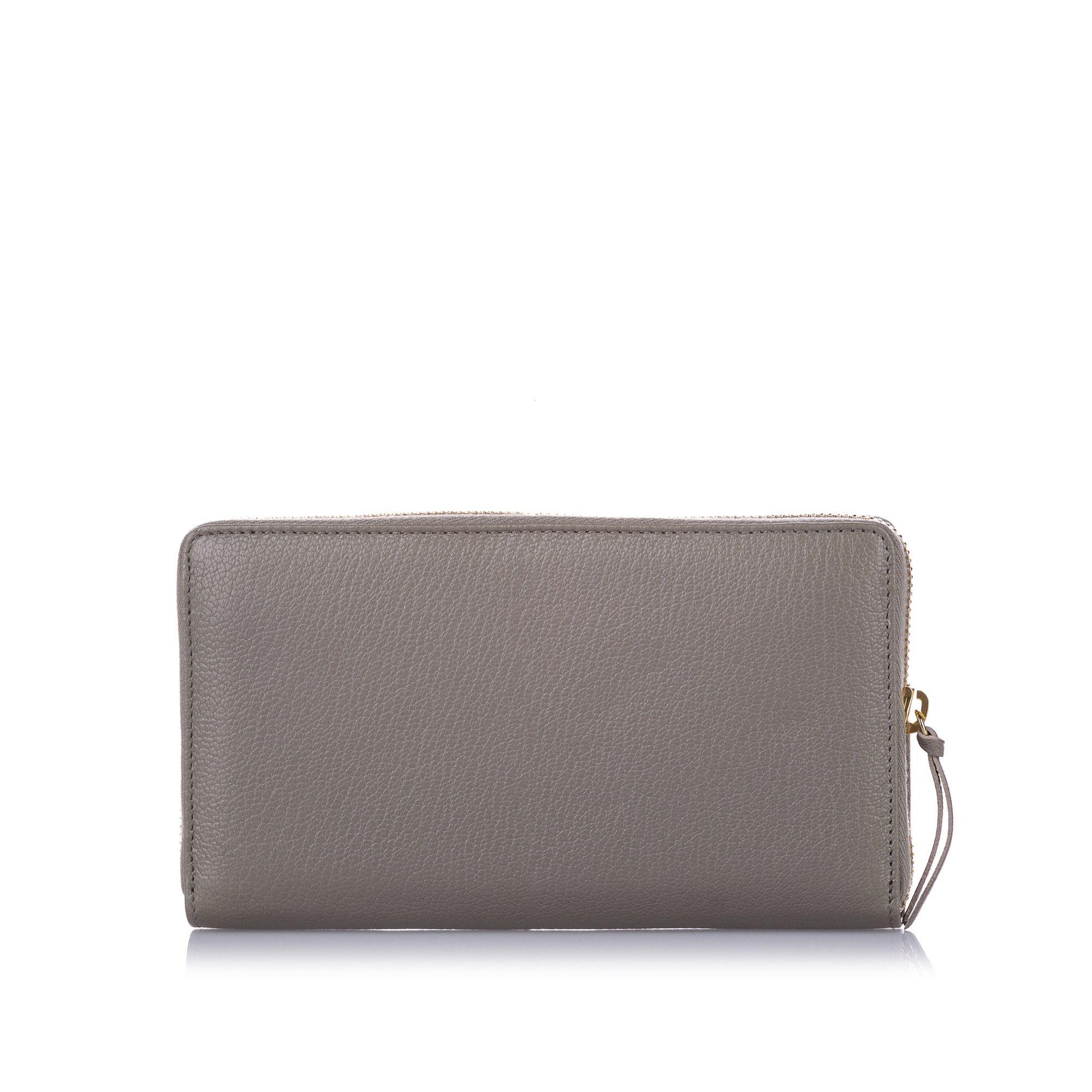 Balenciaga Classic Metallic Edge Leather Long Wallet Grey