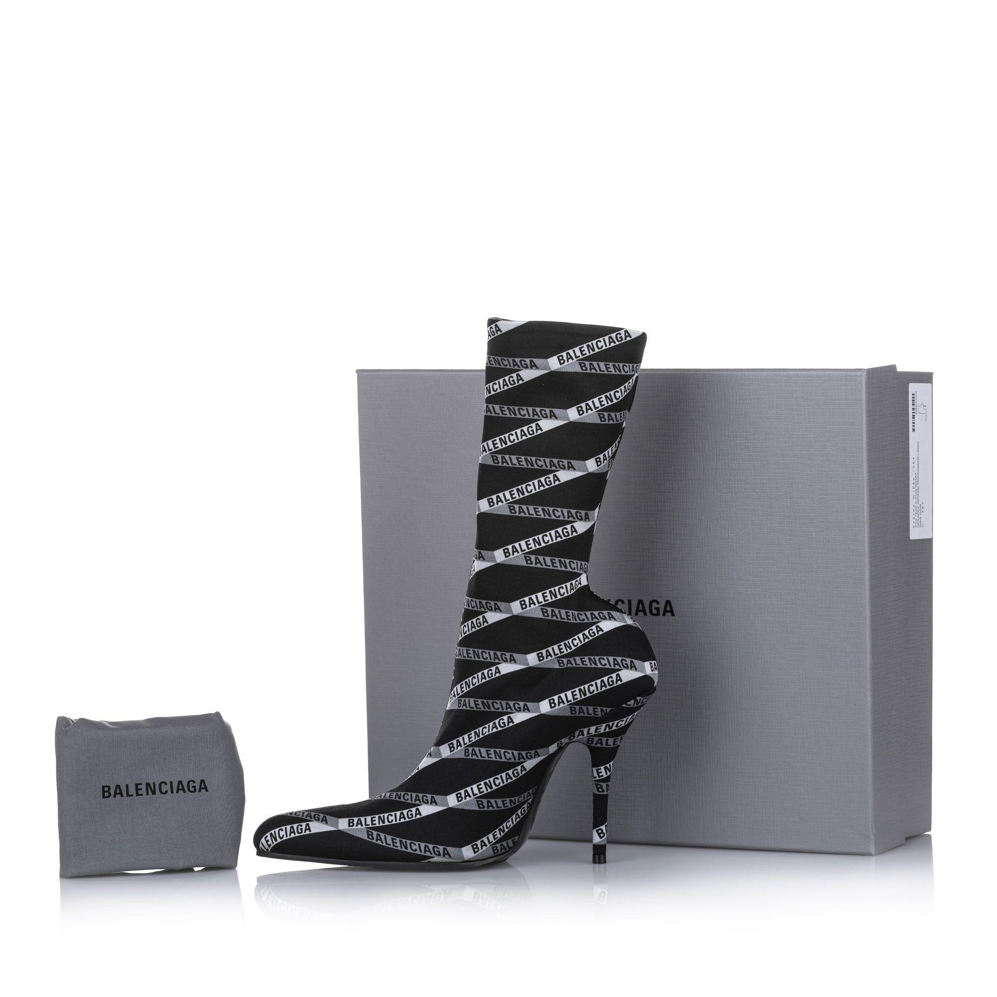 Balenciaga Logo Spandex Boots Black