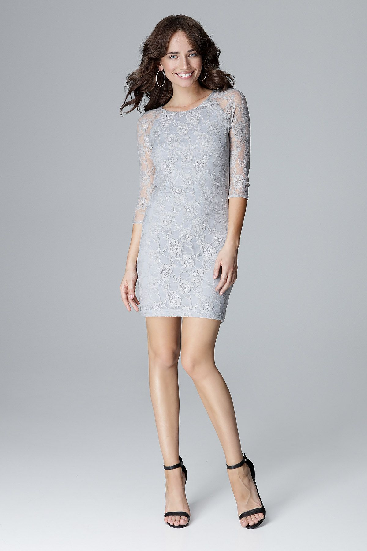 3/4 Long Sleeves Mini Dress With Lace