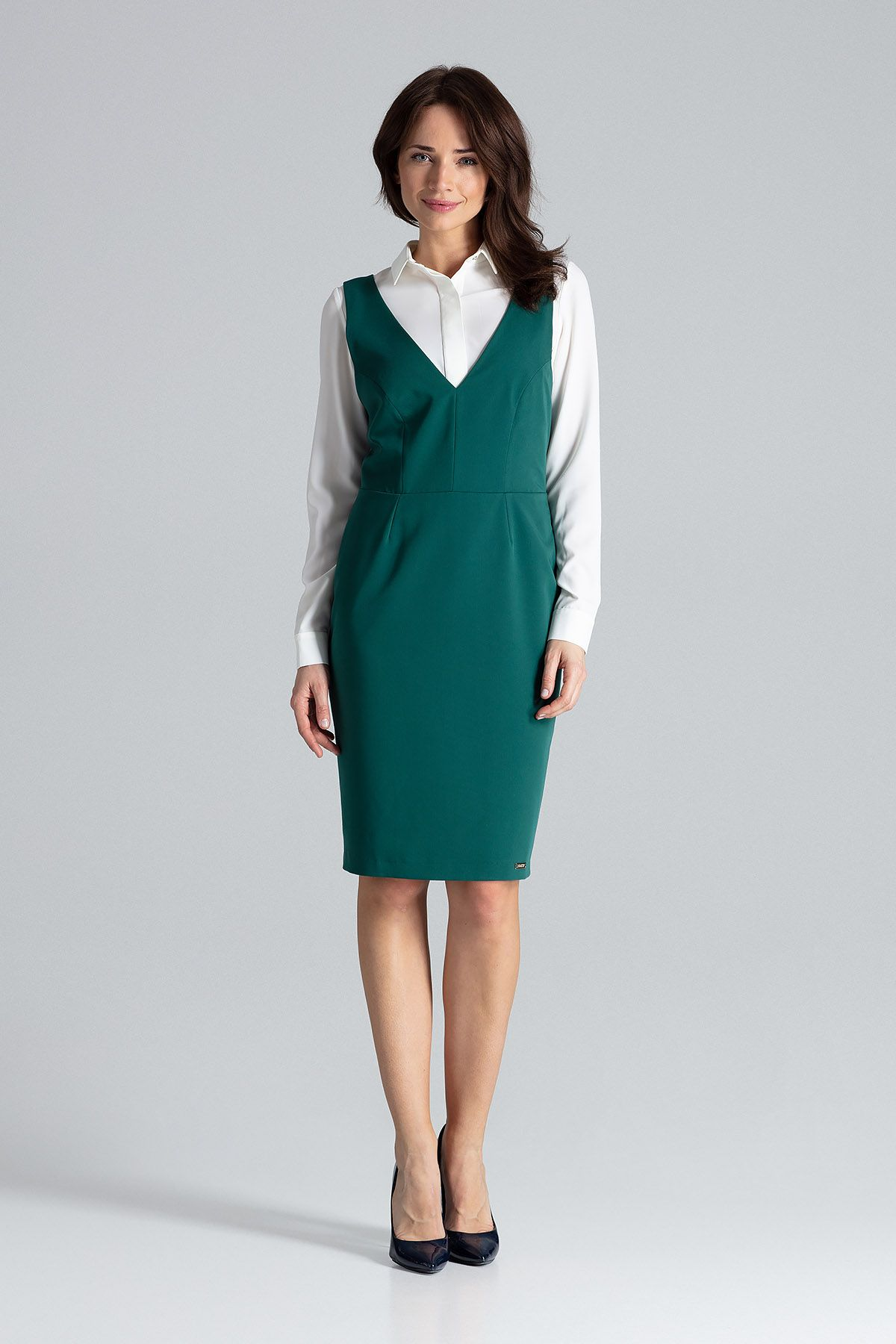 Sleeveless Dress With Suspenders At The Back