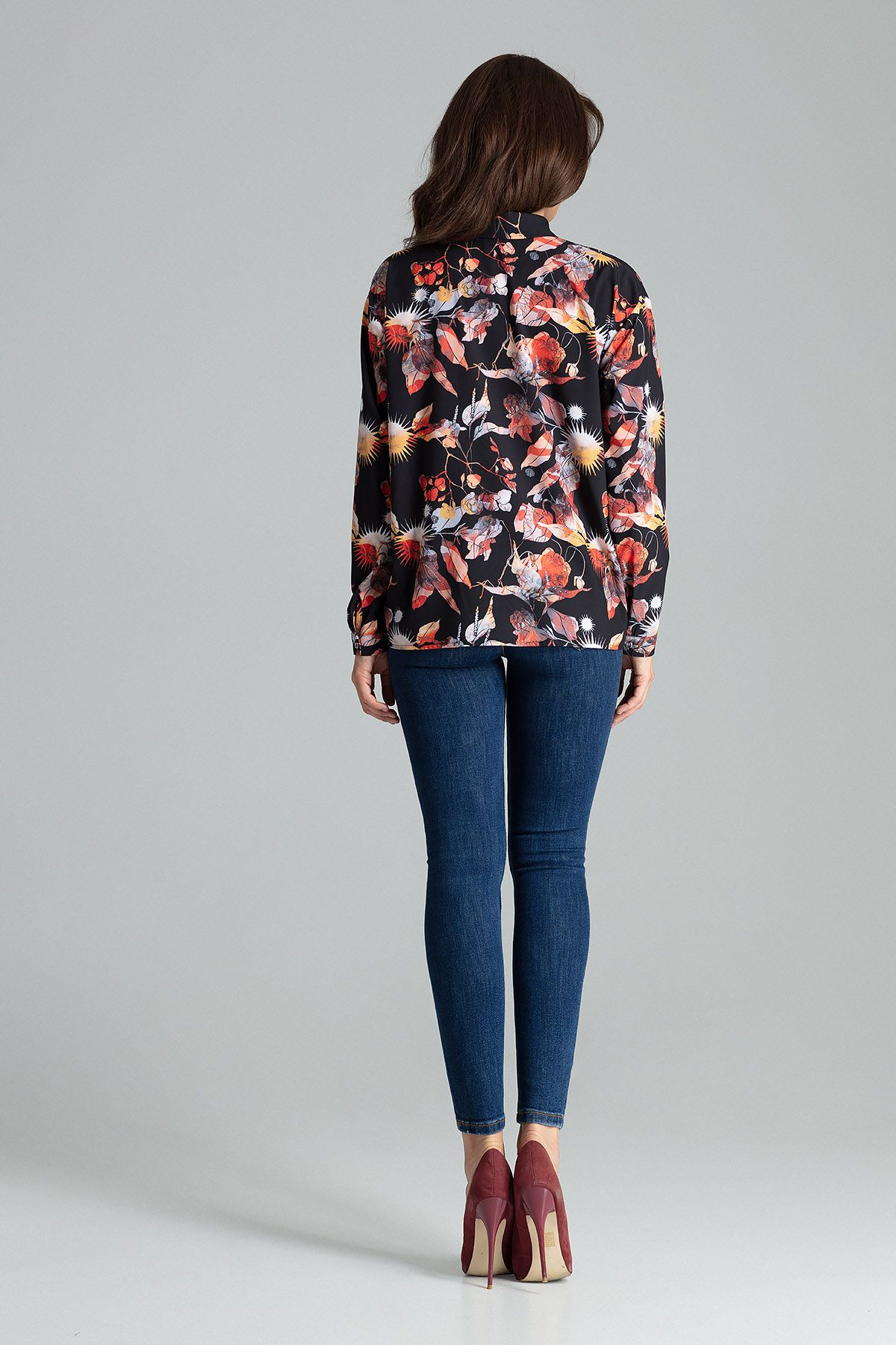 Floral Print Classic Blouse With a Collar