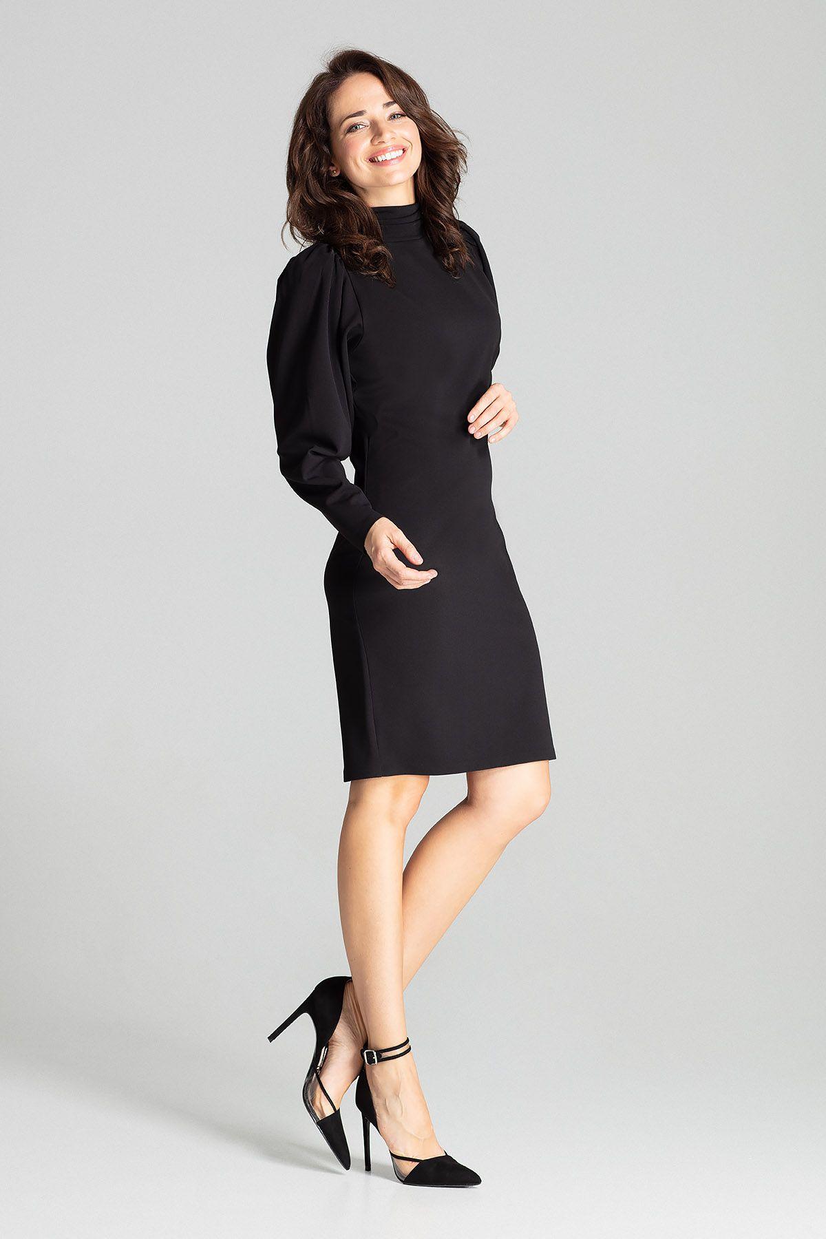 Black Long Sleeve Midi Dress