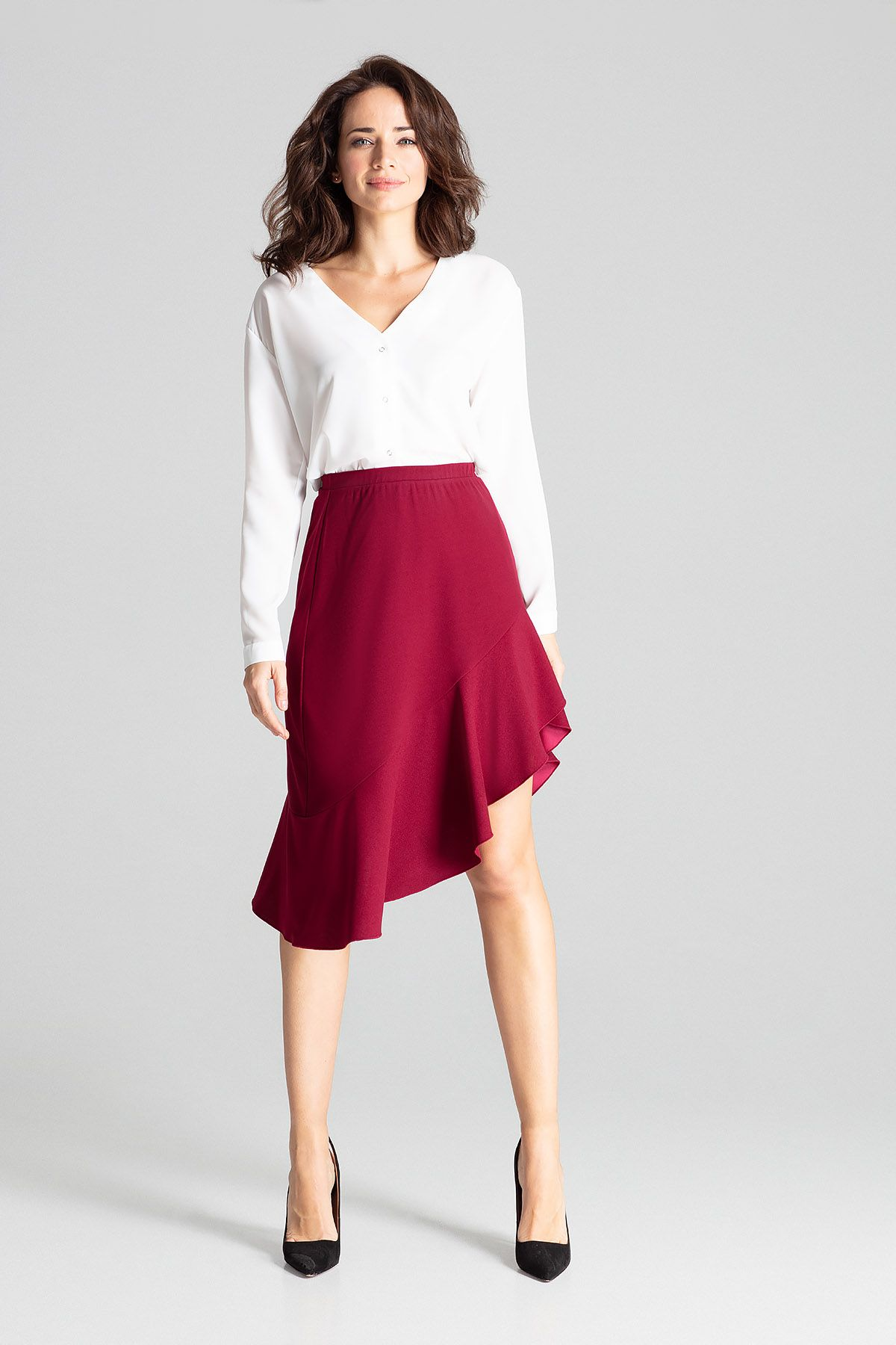 Deep Red Asymmetrical Skirt With Frill