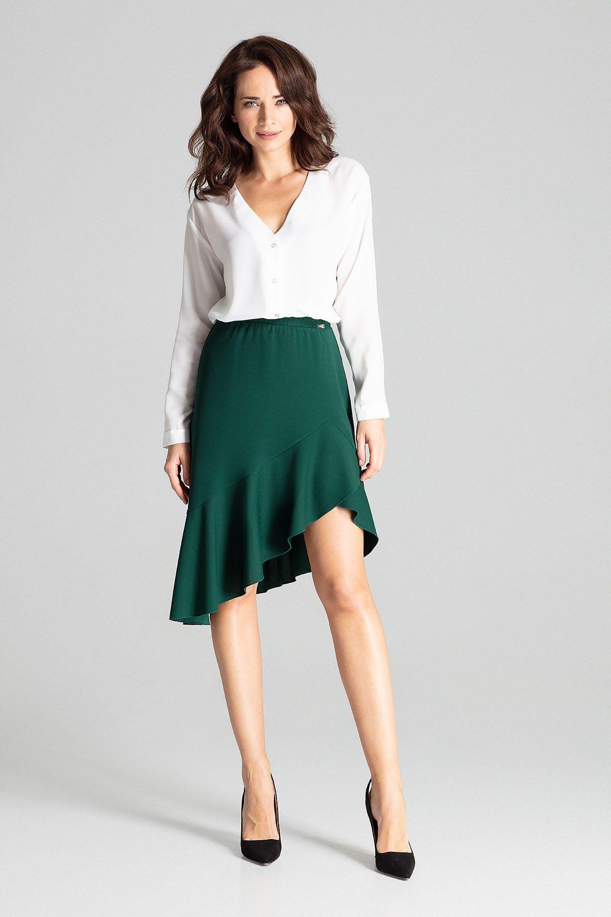 Green Asymmetrical Skirt With Frill