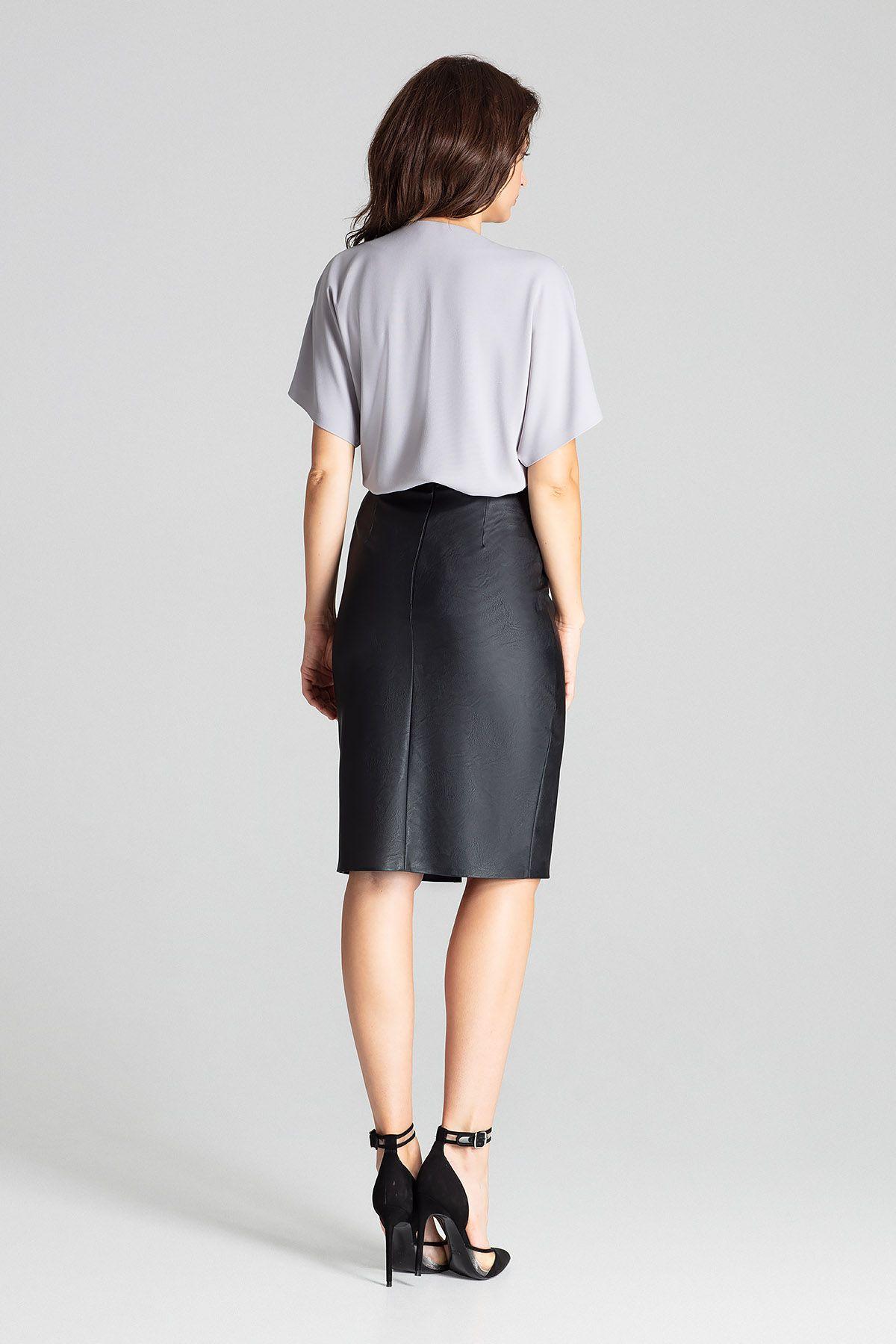 Black Eco-leather Pencil Midi Skirt