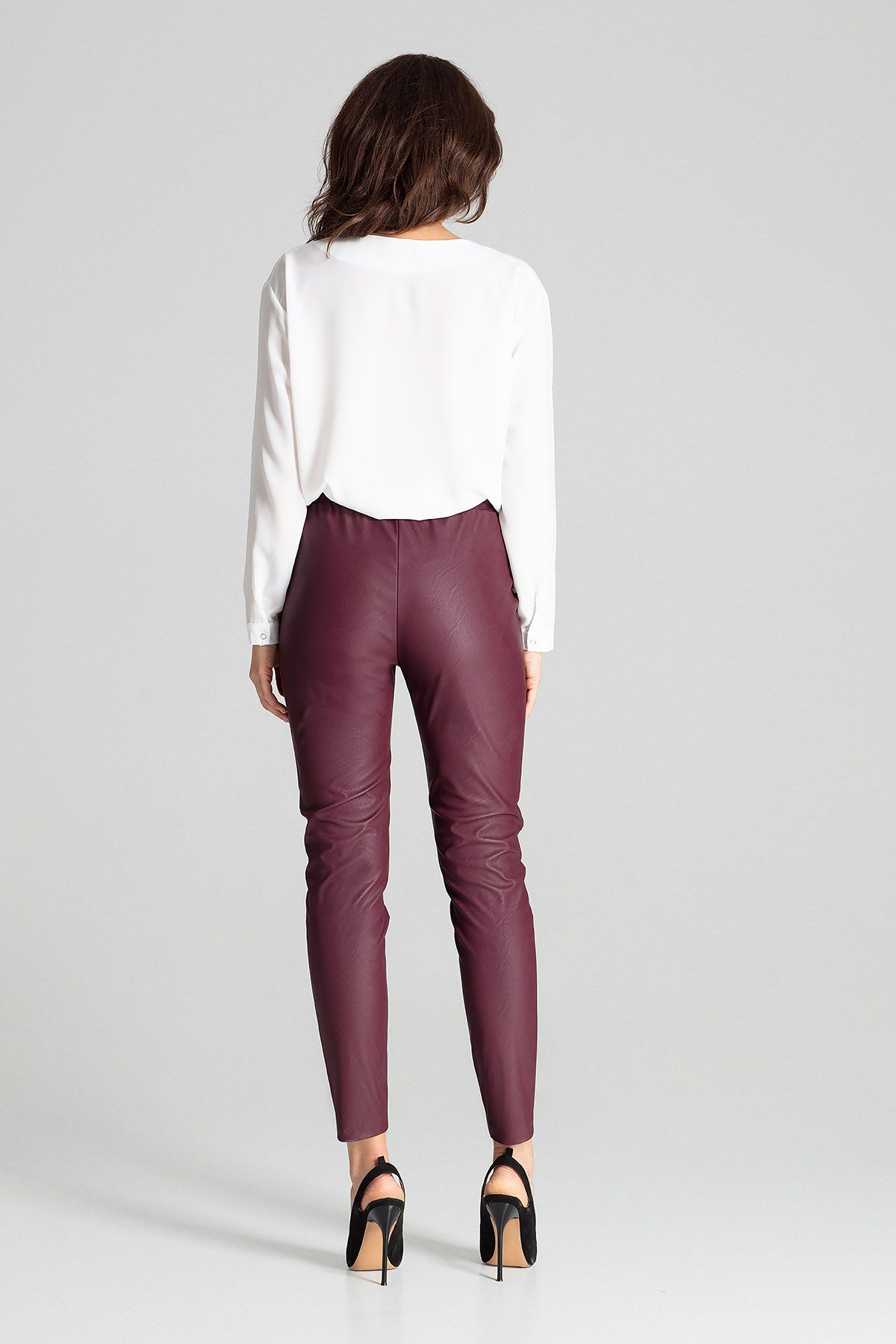 Deep Red Fitted Eco-leather Trousers