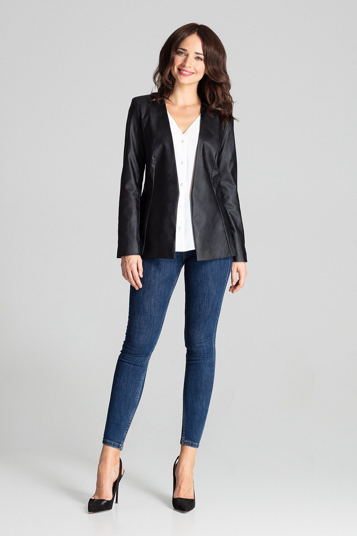 Black Fitted Eco-leather Blazer