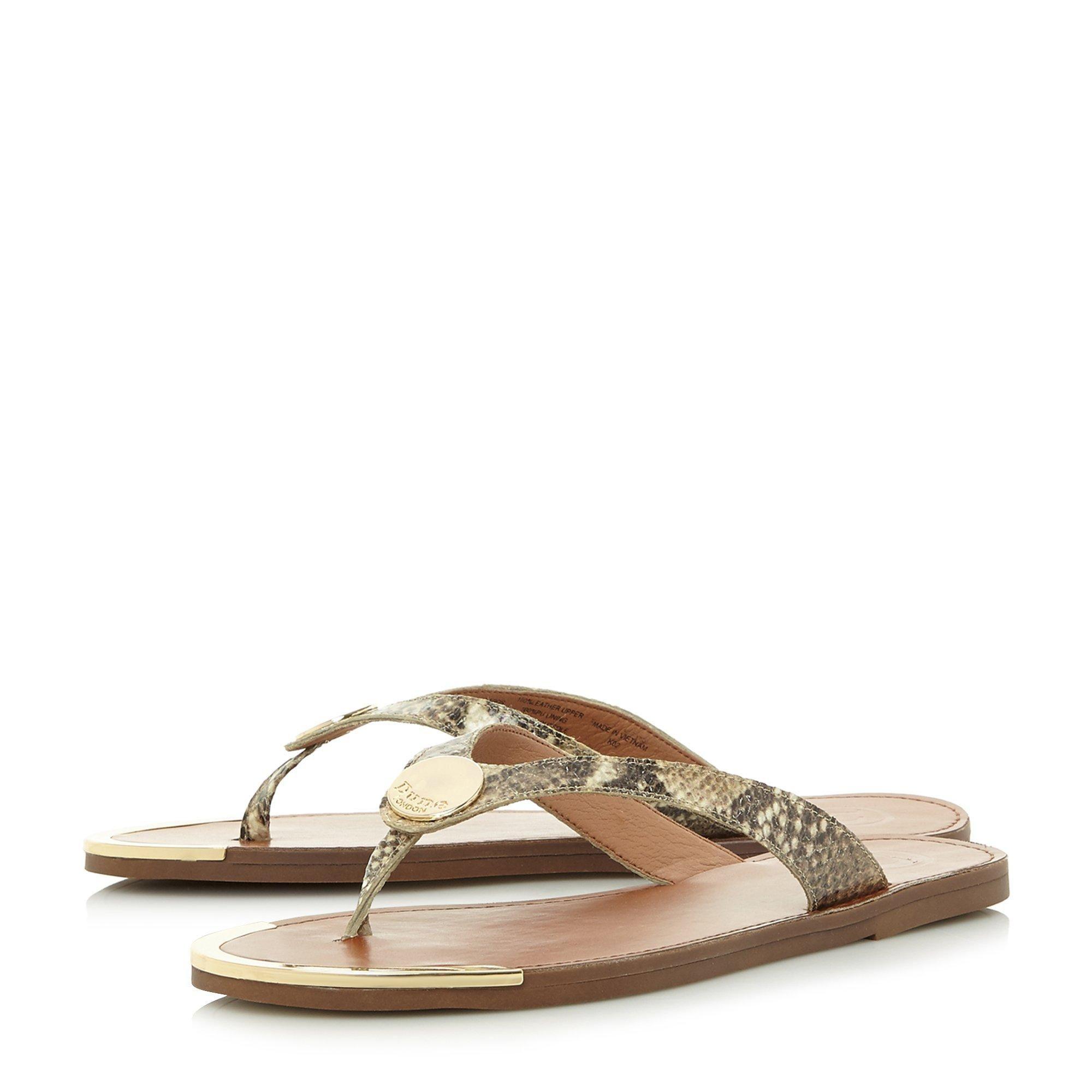Dune Ladies LAGOS Metal Disc Trim Toe Post Sandals
