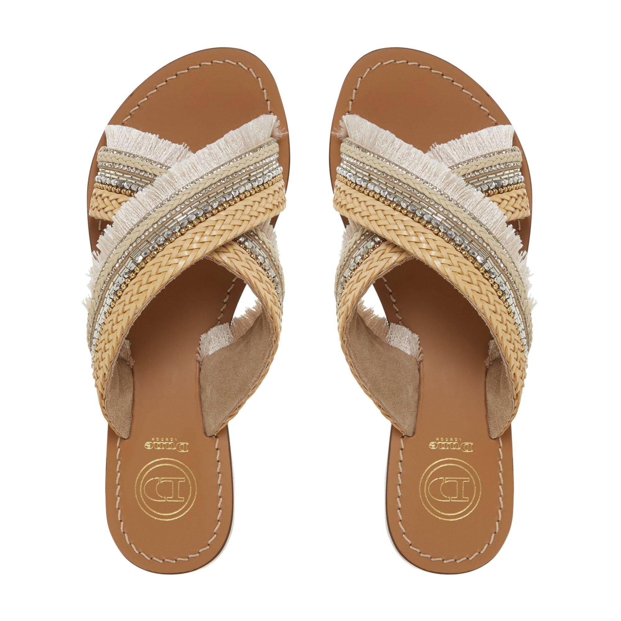 Dune Ladies LAKELY Embellished Cross Over Strap Sandals