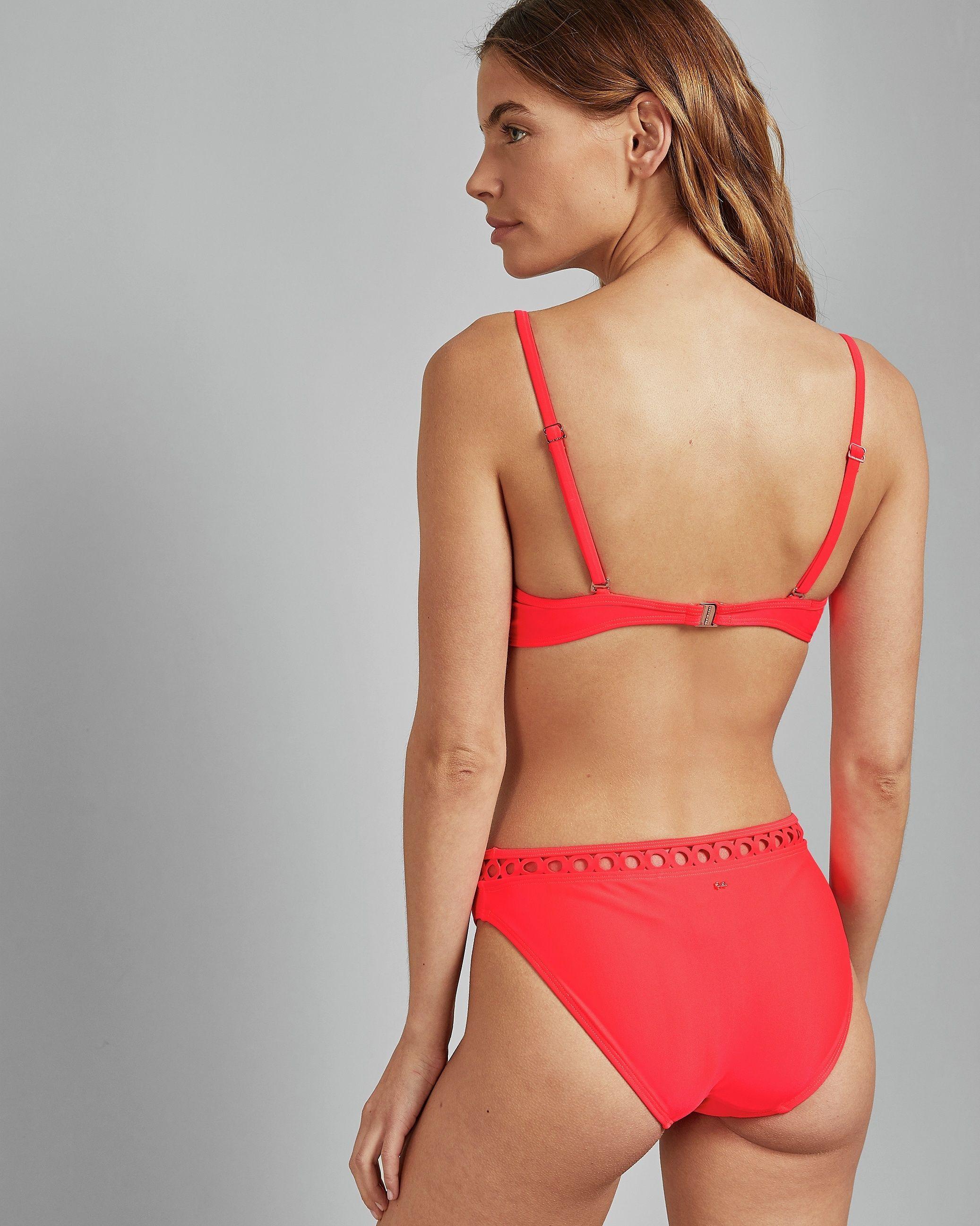 Ted Baker Latrelo Lace Trim Classic Bikini Pant, Red