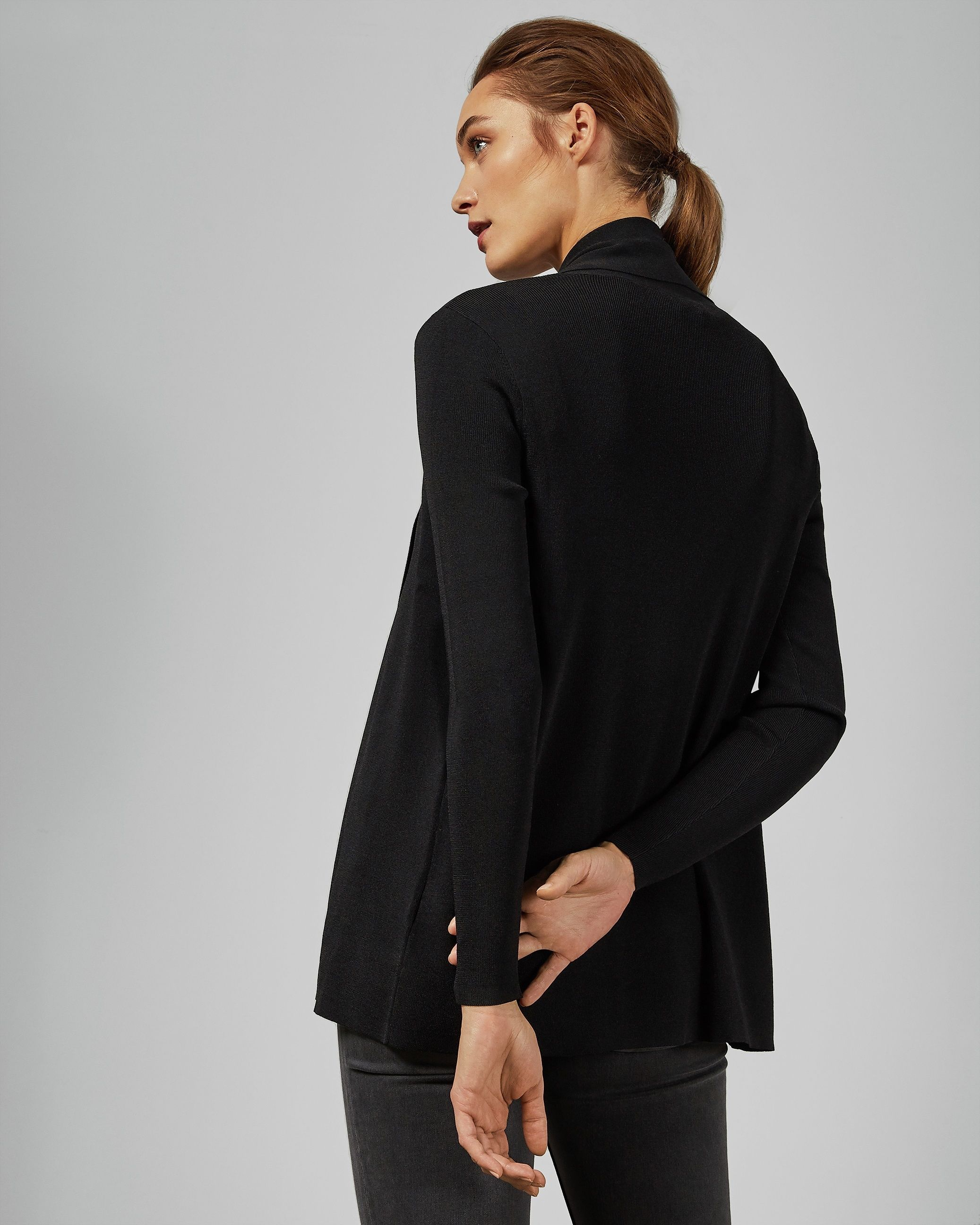 Ted Baker Leby Woven Detail Knitted Cardigan in Black