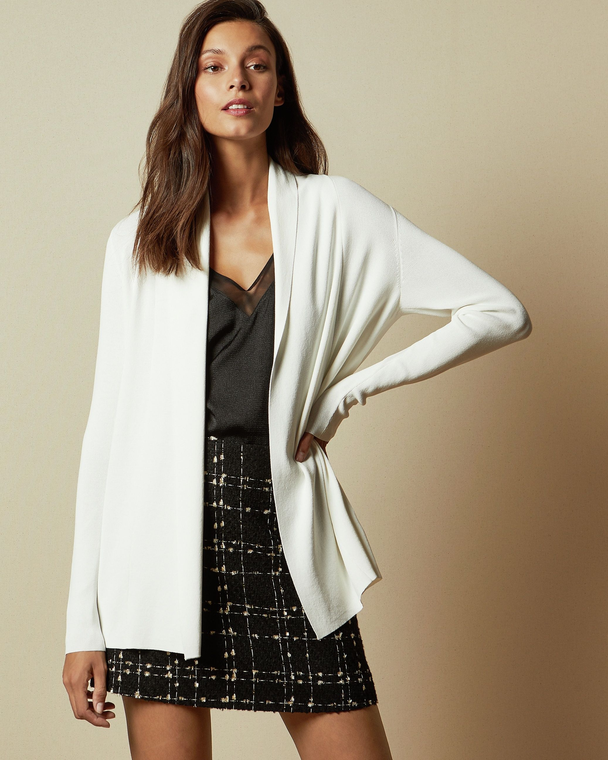 Ted Baker Leby Woven Detail Knitted Cardigan in Ivory