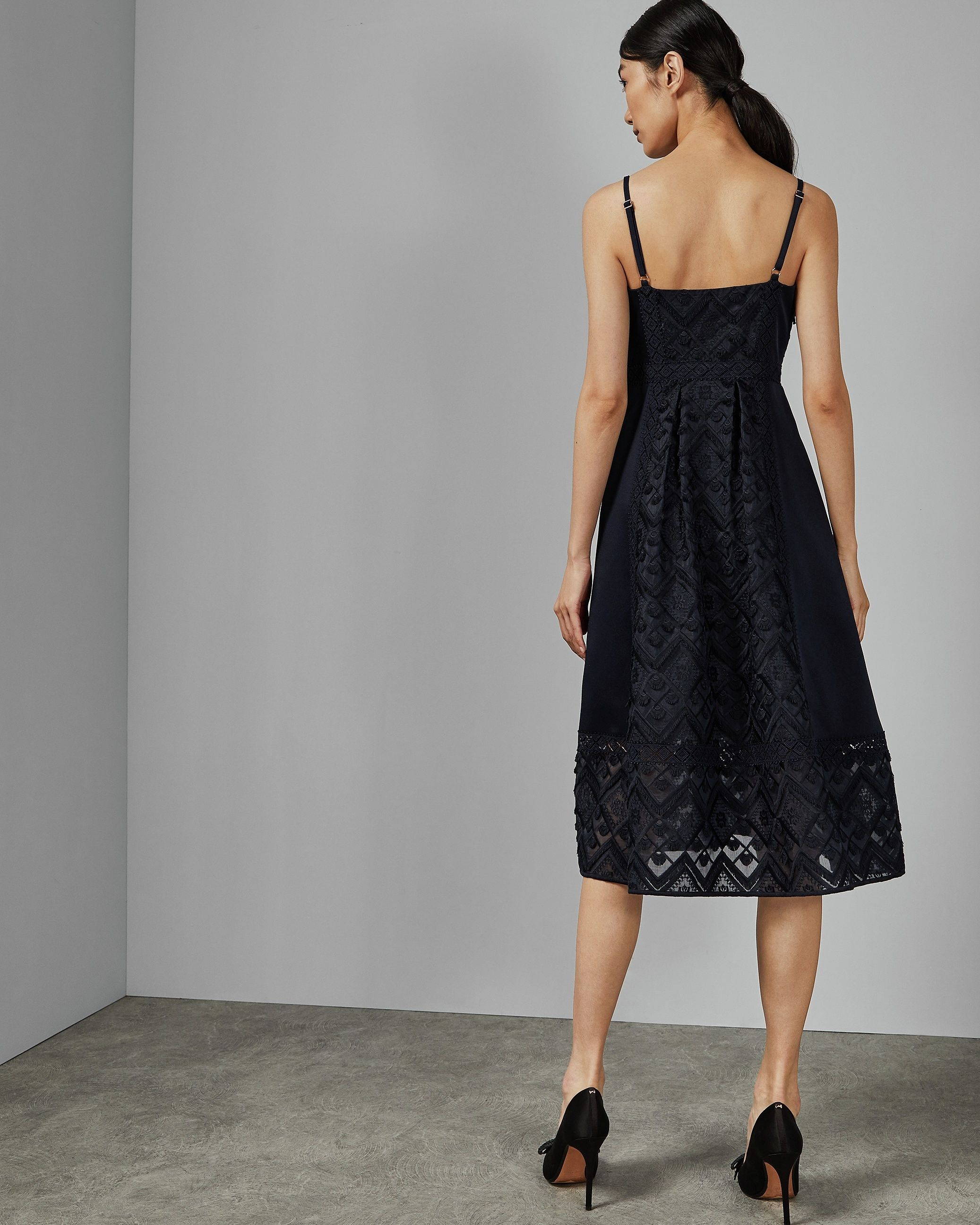 Ted Baker Leeeo Mixed Geo Lace Midi Dress in Navy