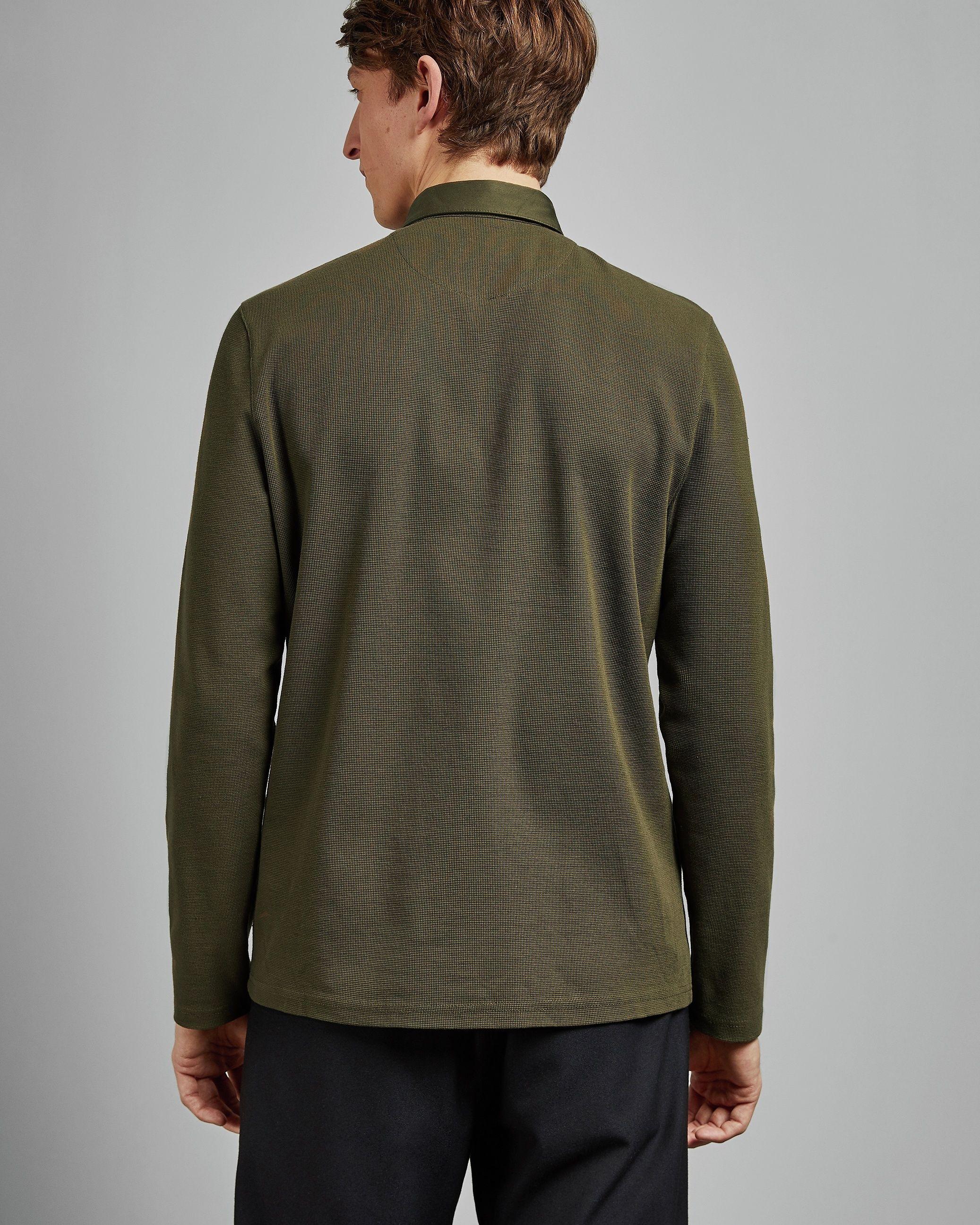 Ted Baker Leopard Long-Sleeved Textured Woven Collar Polo, Khaki