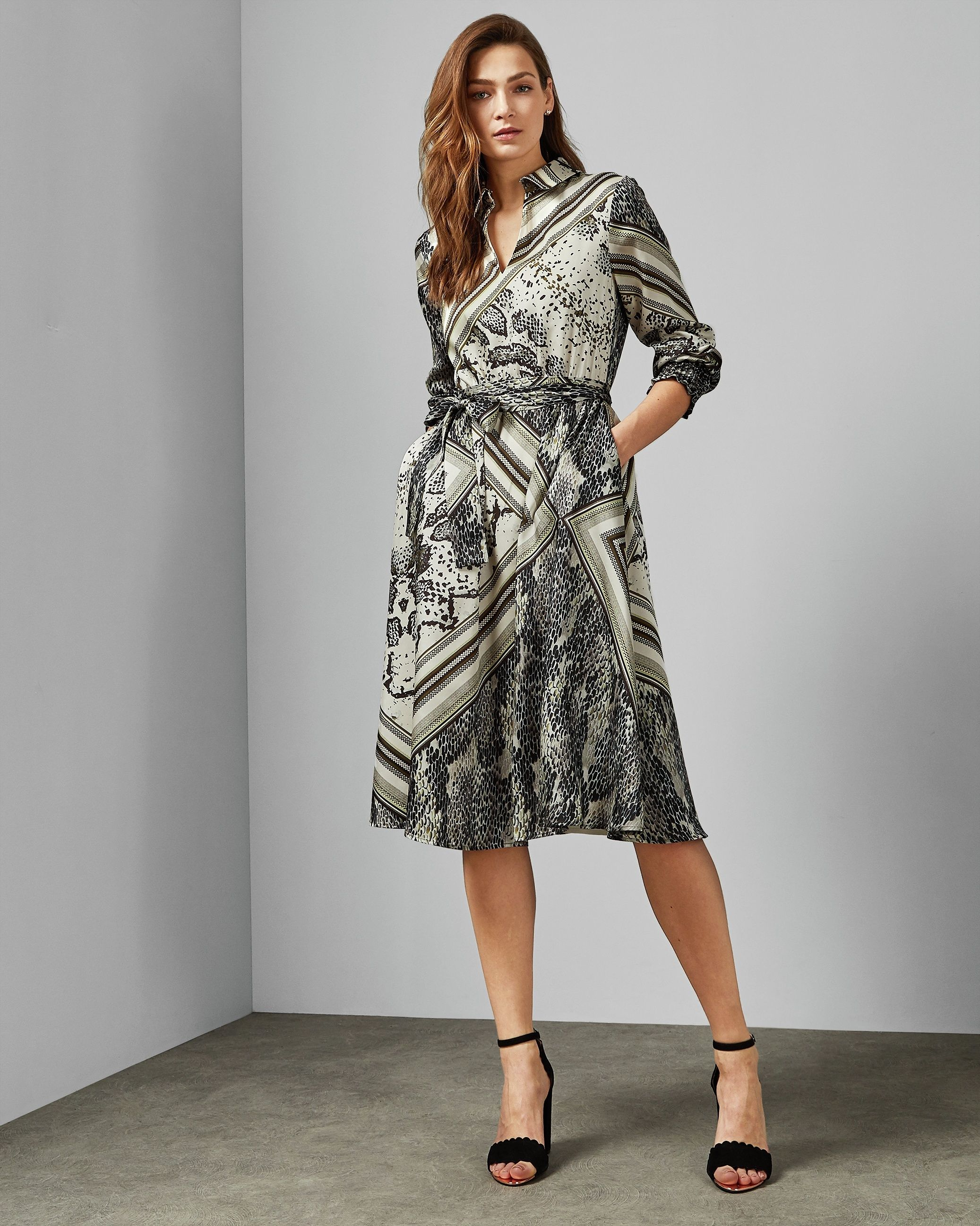 Ted Baker Llouise Shirred Waist Midi Shirt Dress in Taupe