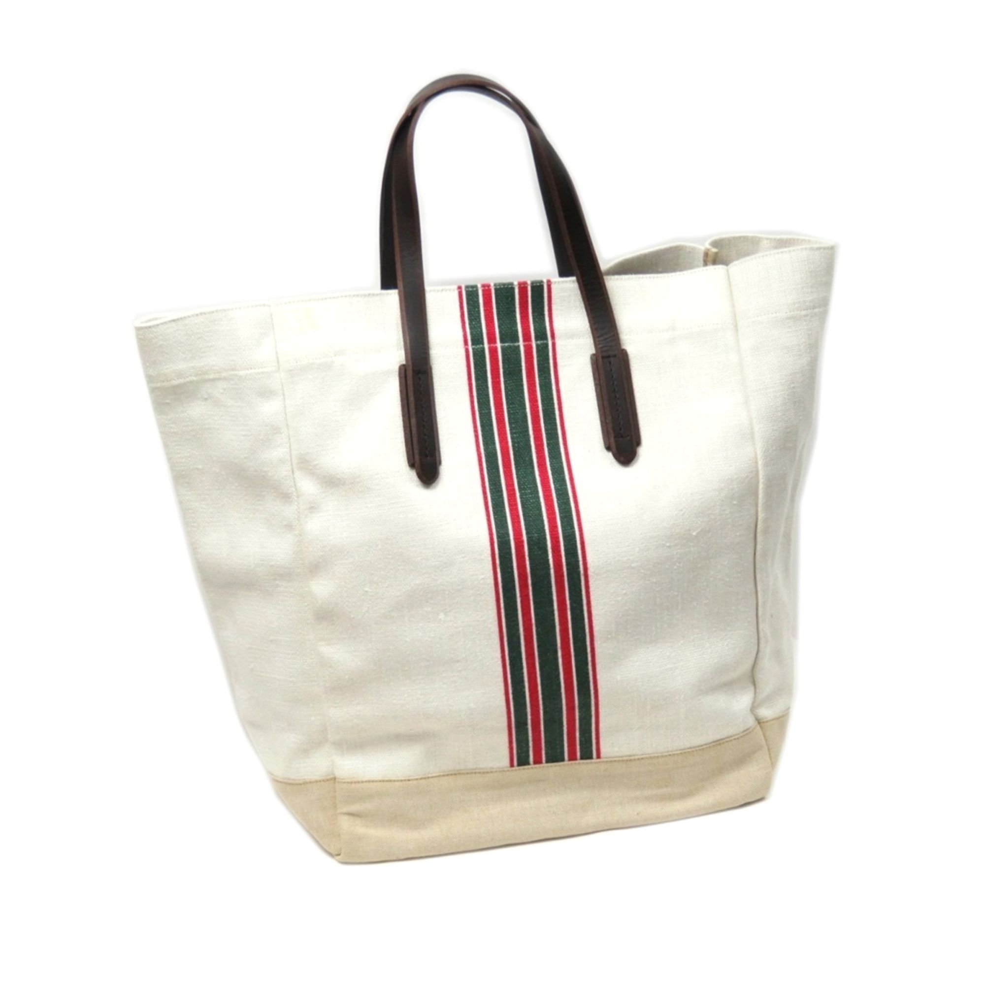 Vintage Gucci Web Canvas Tote Bag White