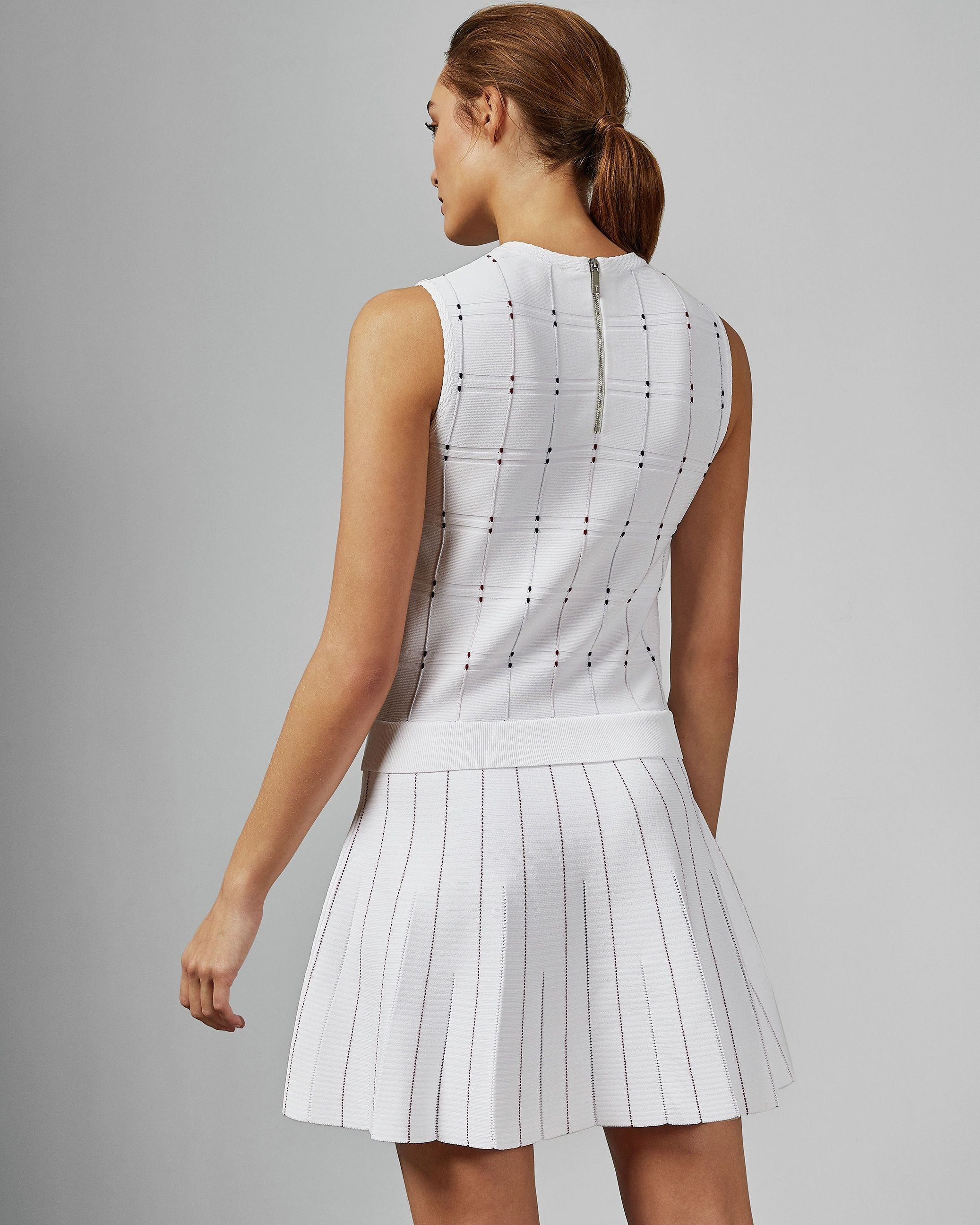 Ted Baker Lornia Stitch Detail Mockable Dress in Ivory