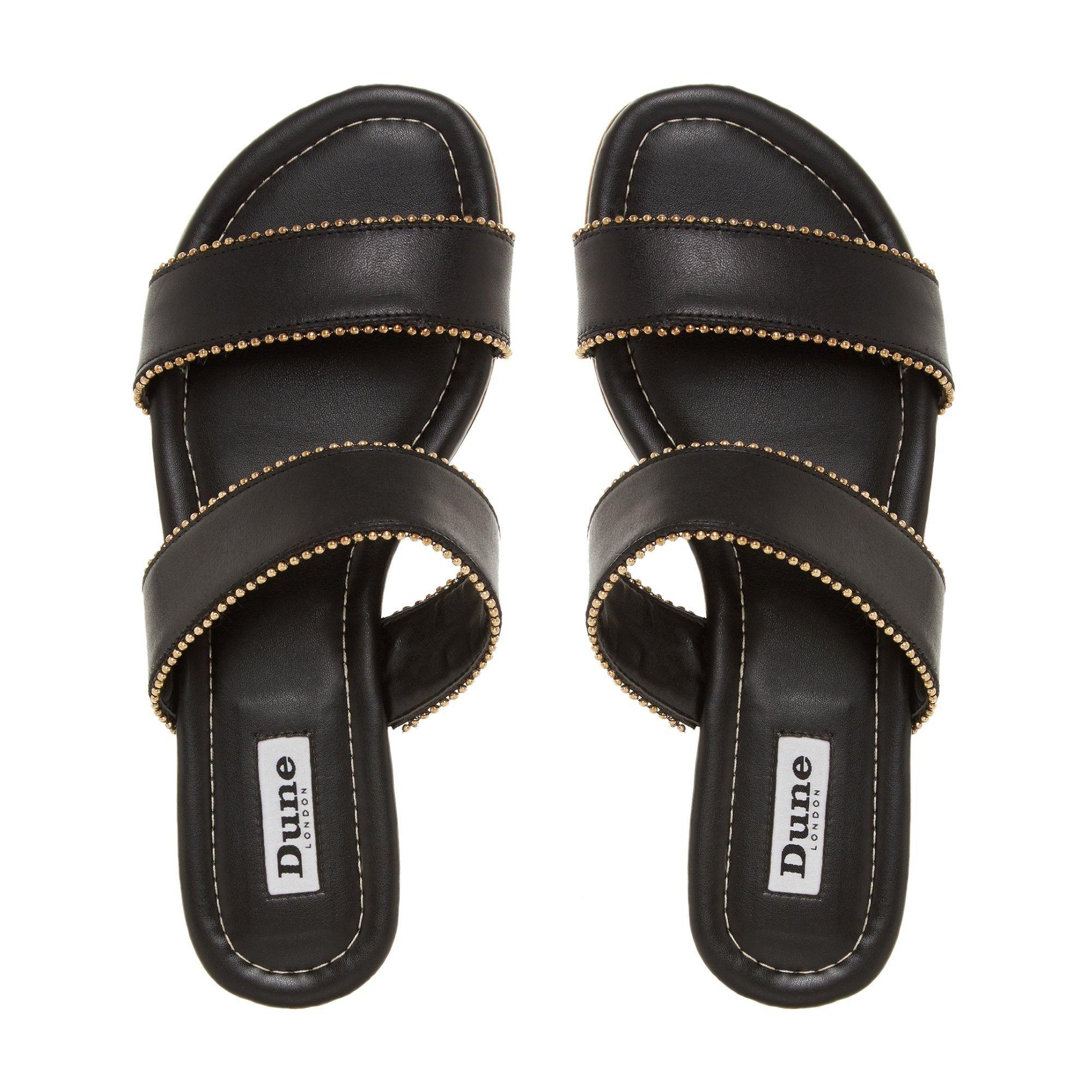 Dune Ladies LOUPEZ Double Strap Beaded Slider Sandals